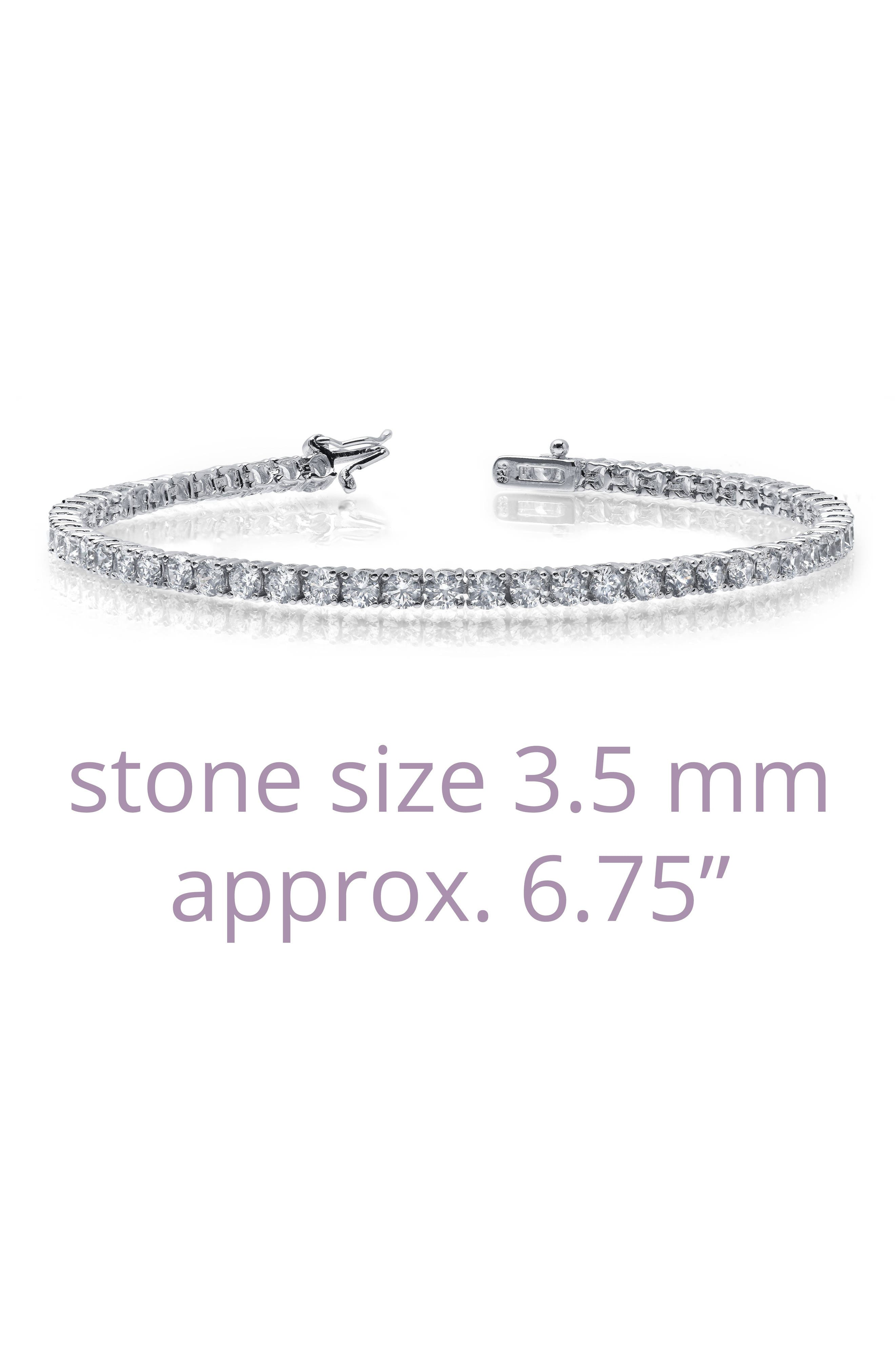 Classic Simulated Diamond Tennis Bracelet,                             Alternate thumbnail 3, color,                             SILVER