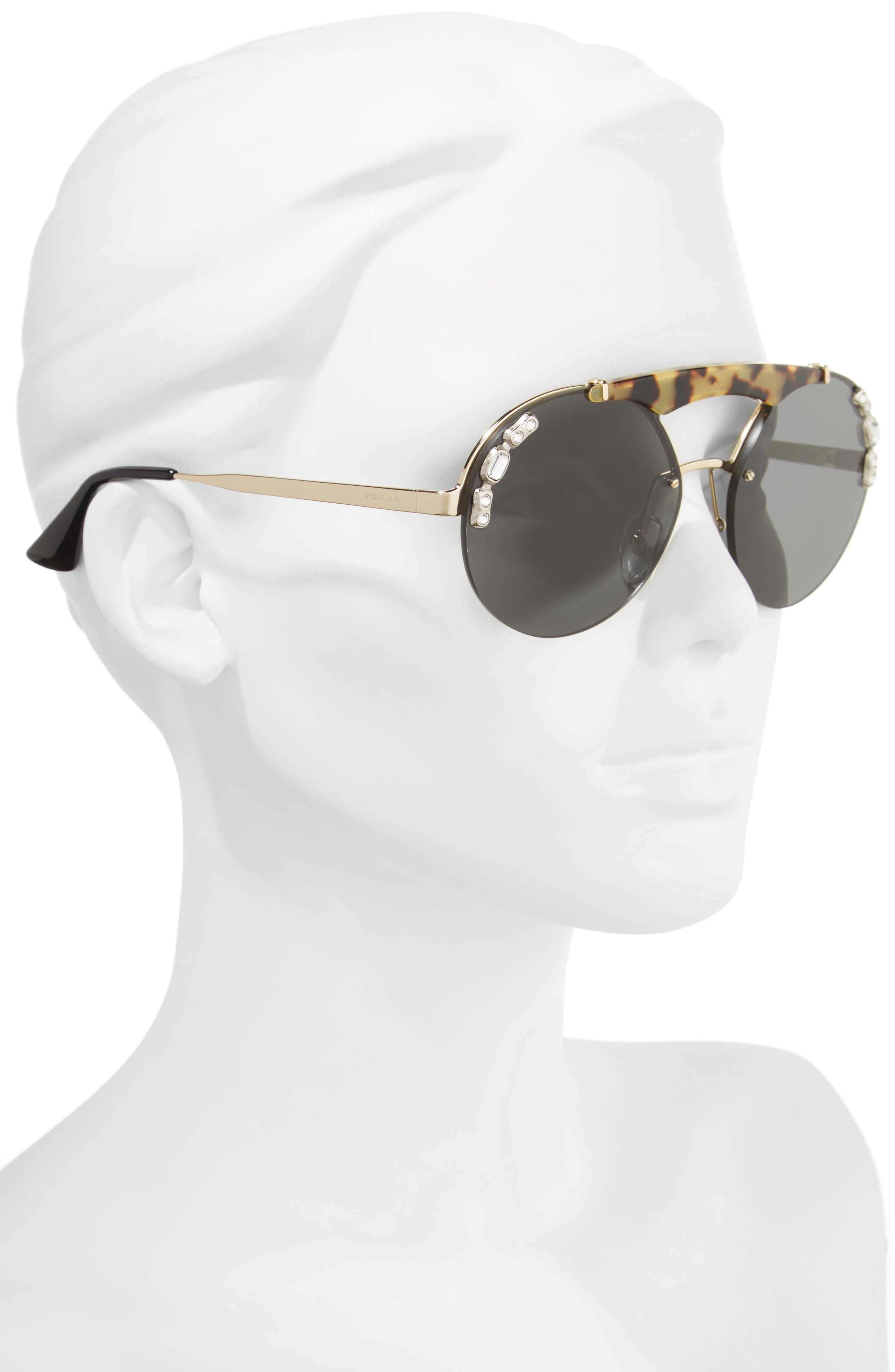 52mm Embellished Round Rimless Sunglasses,                             Alternate thumbnail 2, color,                             100