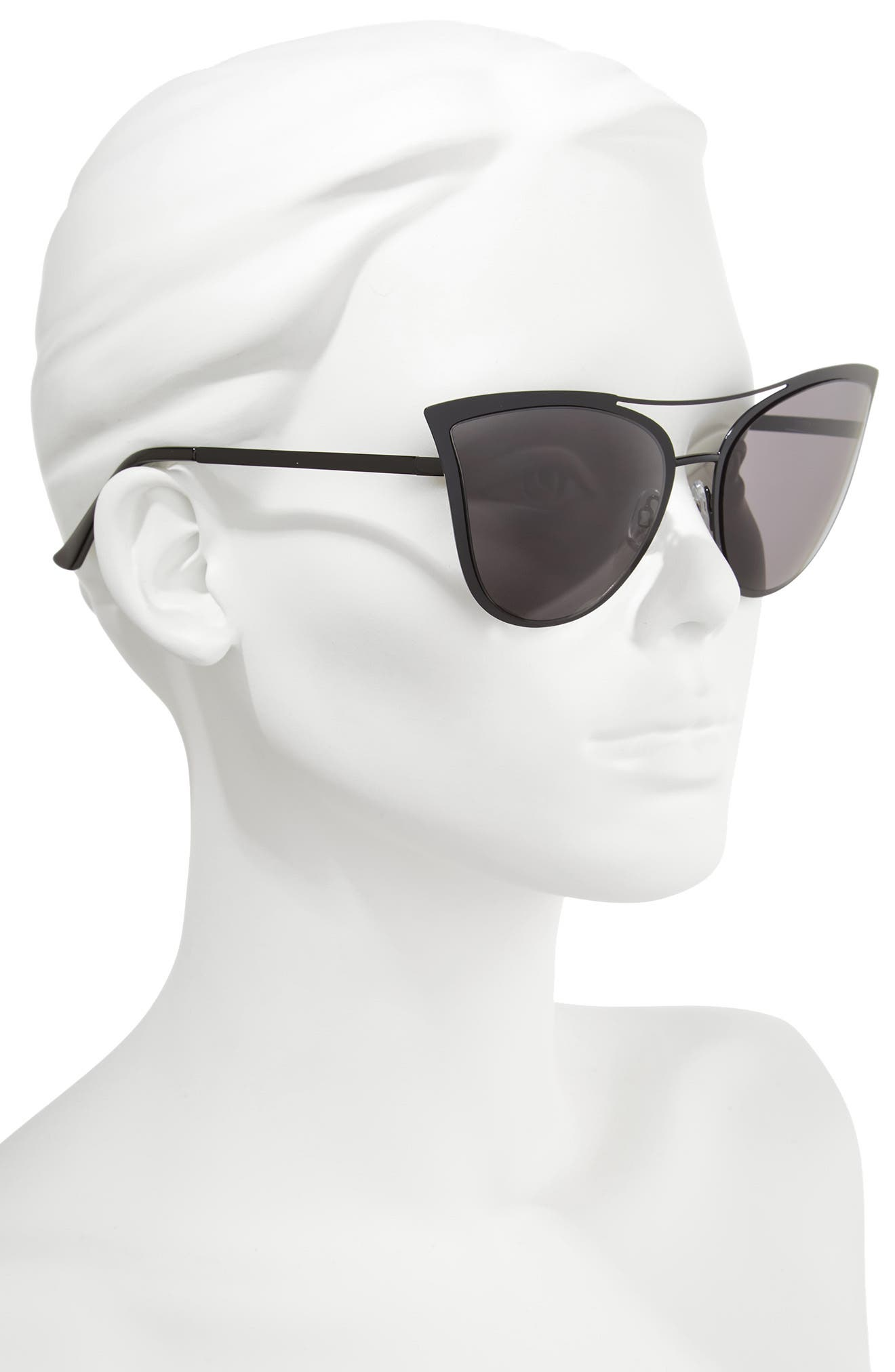 61mm Metal Cat Eye Sunglasses,                             Alternate thumbnail 2, color,                             001