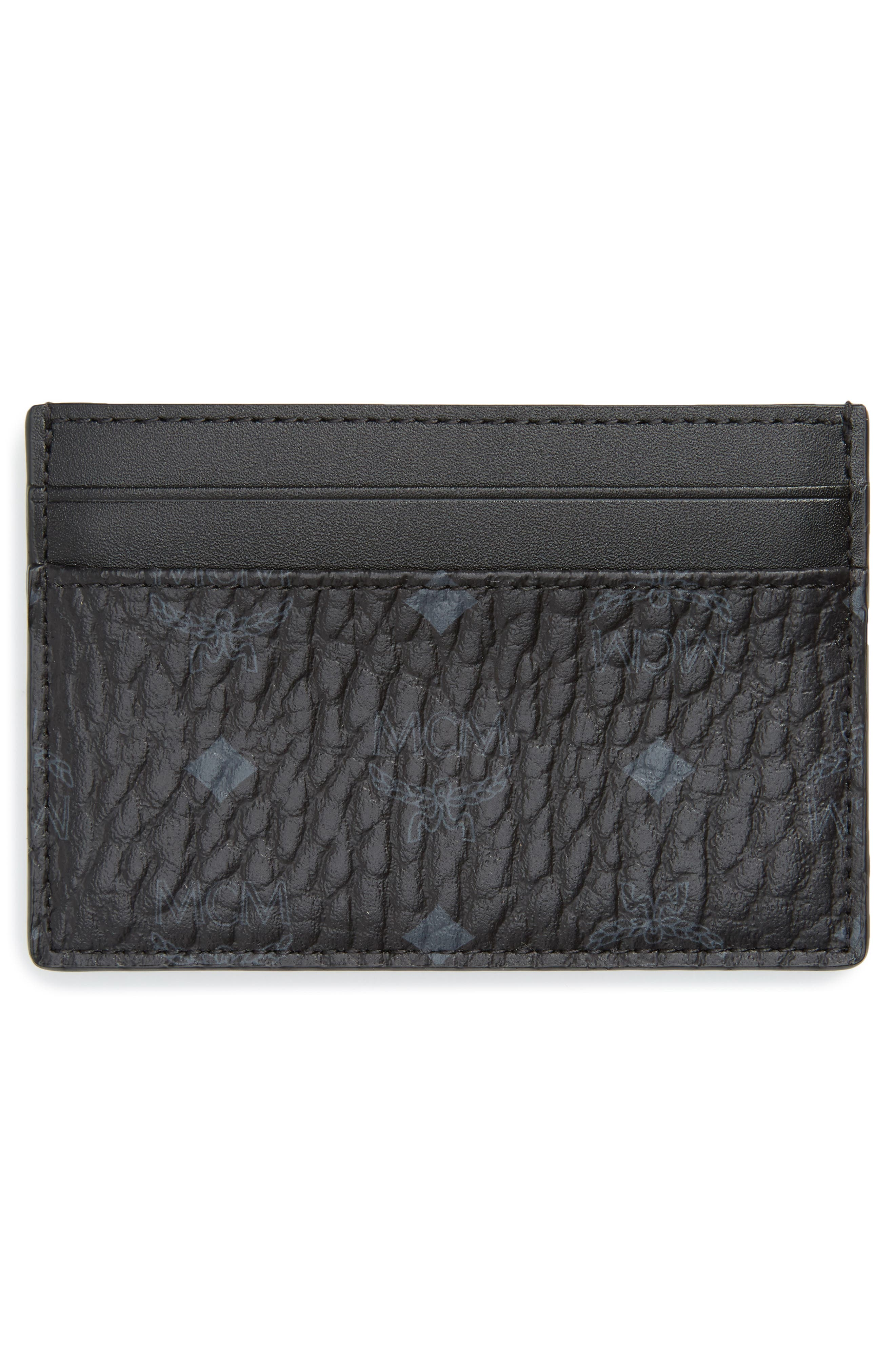 Logo Leather Card Case,                             Alternate thumbnail 2, color,                             BLACK