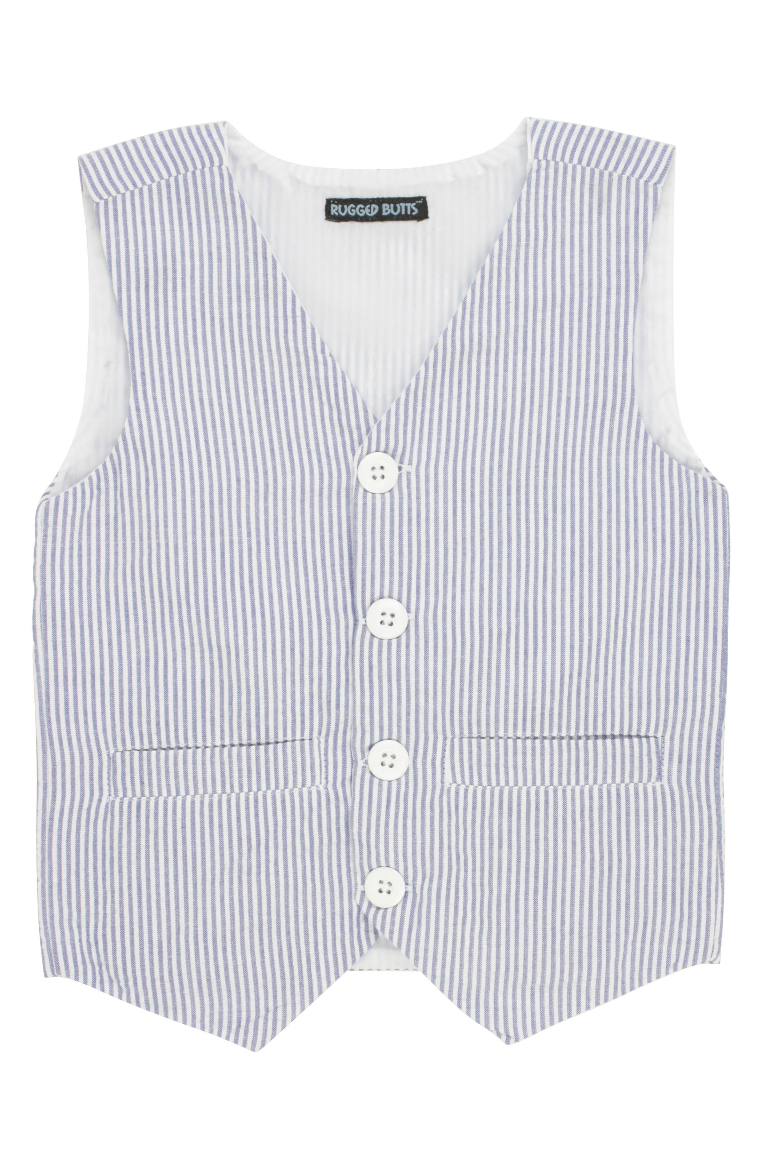 Seersucker Vest & Shorts Set,                             Alternate thumbnail 5, color,                             BLUE