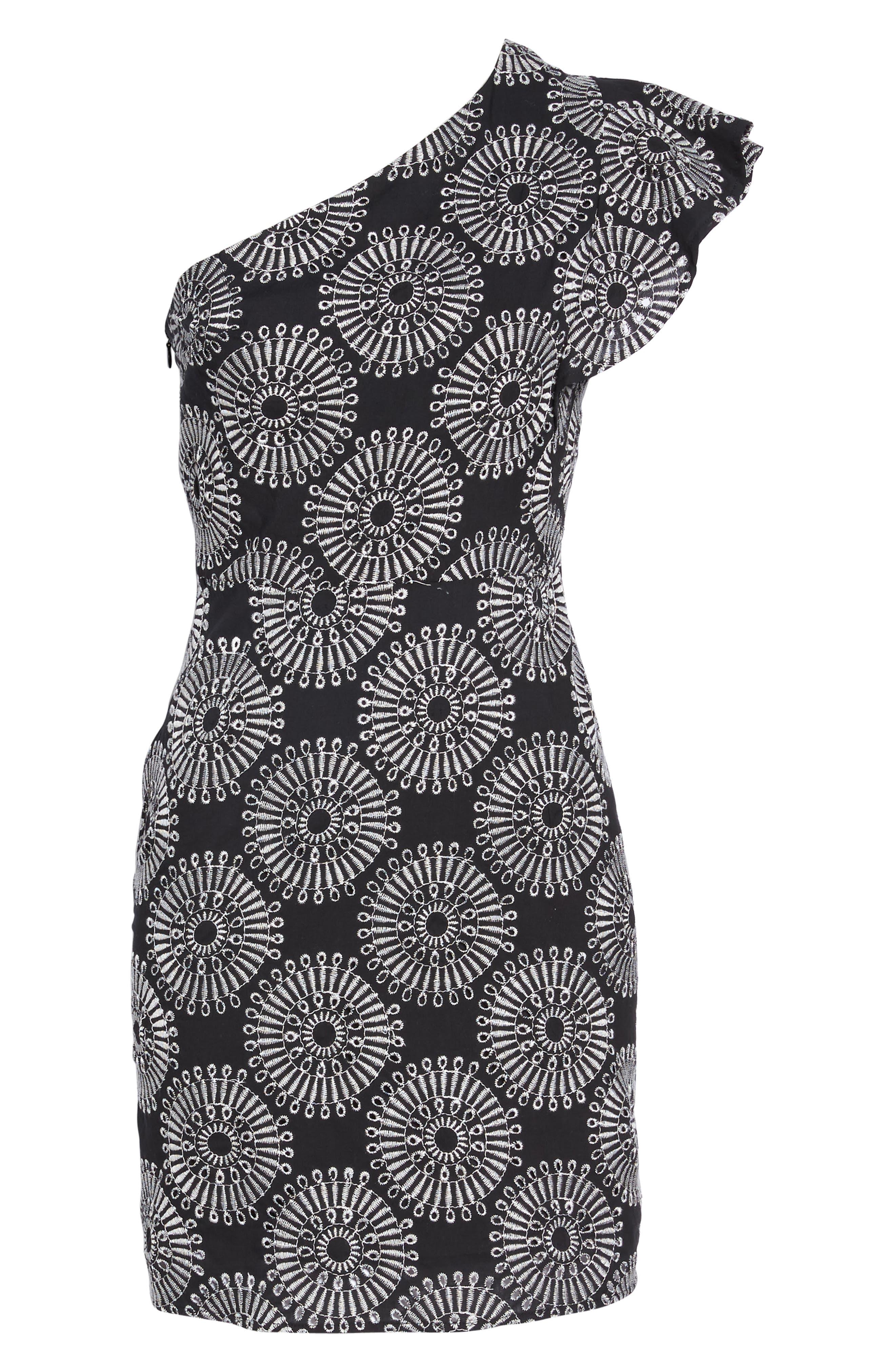 SAM EDELMAN,                             Embroidered One-Shoulder Sheath Dress,                             Alternate thumbnail 6, color,                             001