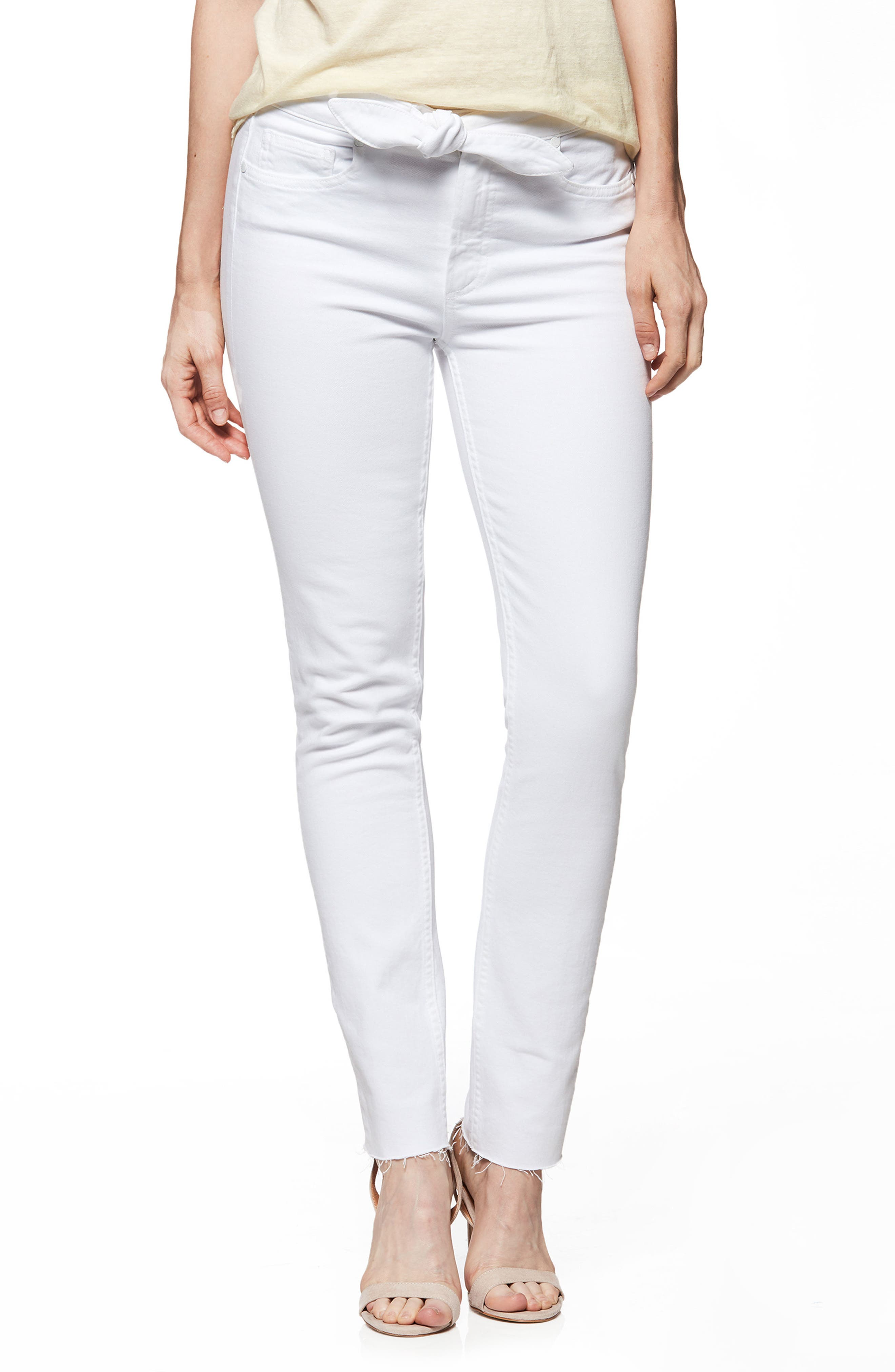 PAIGE Hoxton High Waist Ankle Skinny Jeans, Main, color, 100