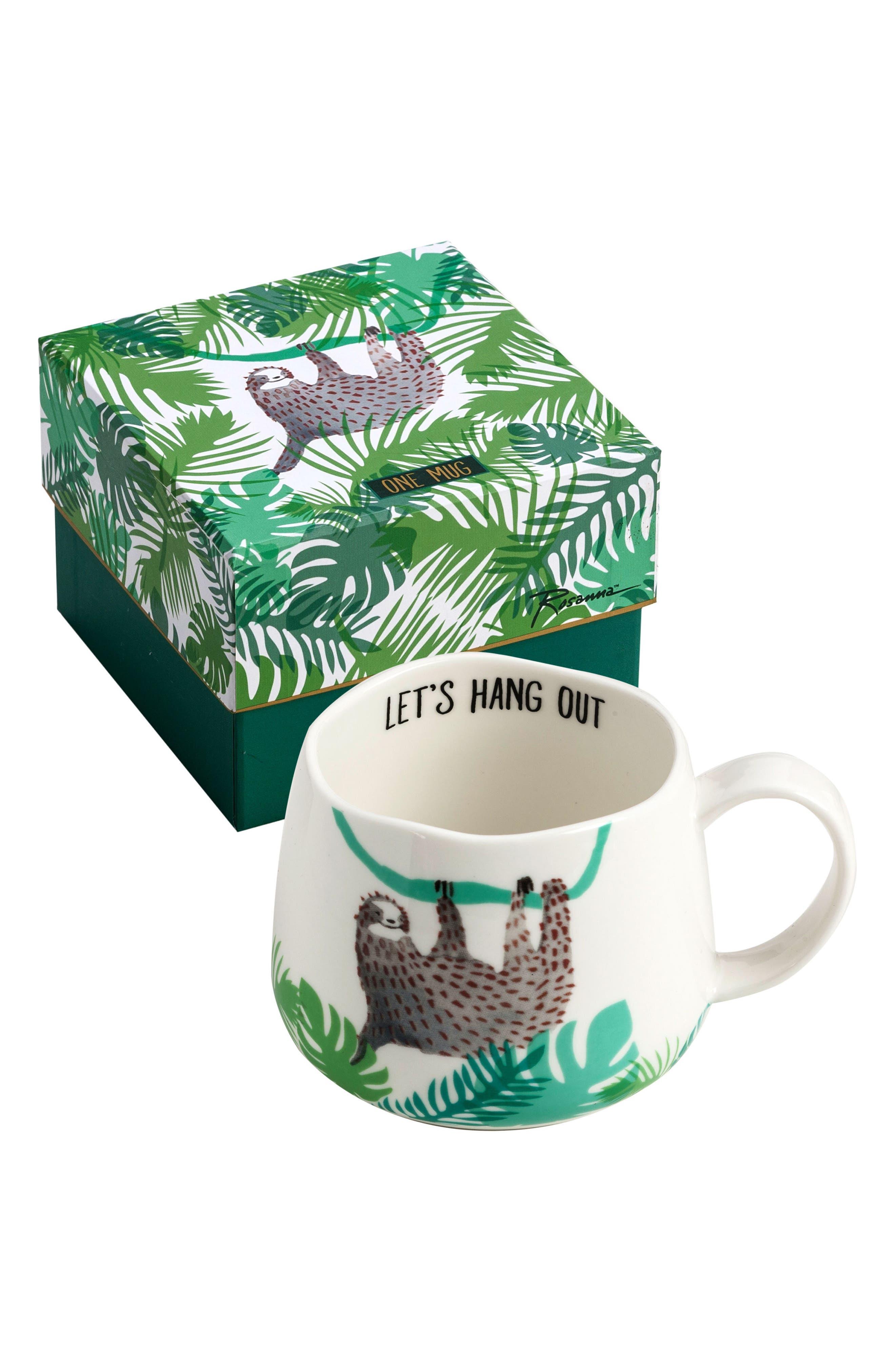 Be Wild Sloth Ceramic Mug,                             Main thumbnail 1, color,                             020
