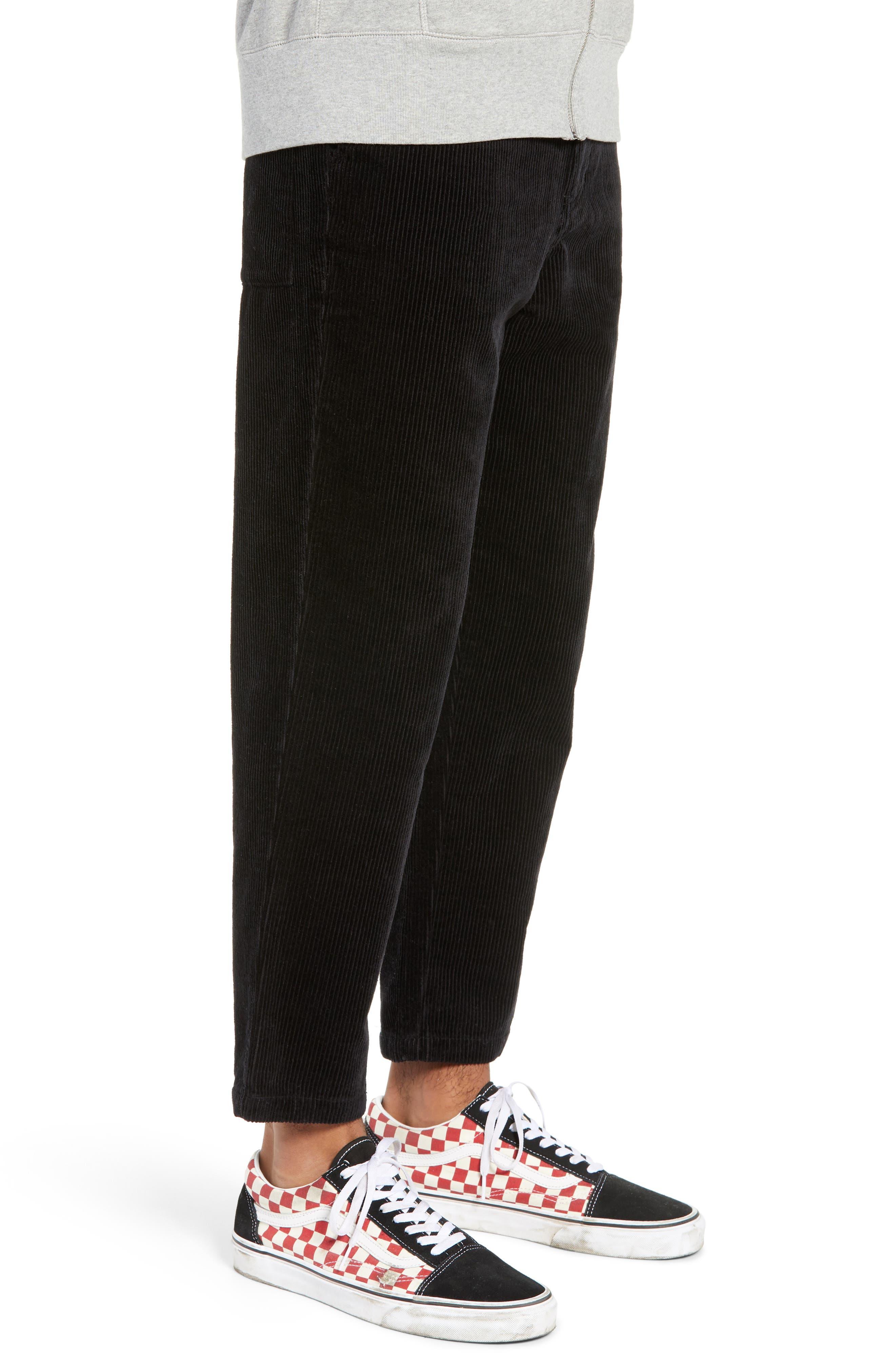 Iggy Wide Wale Cotton Corduroy Straight Leg Pants,                             Alternate thumbnail 3, color,                             BLACK