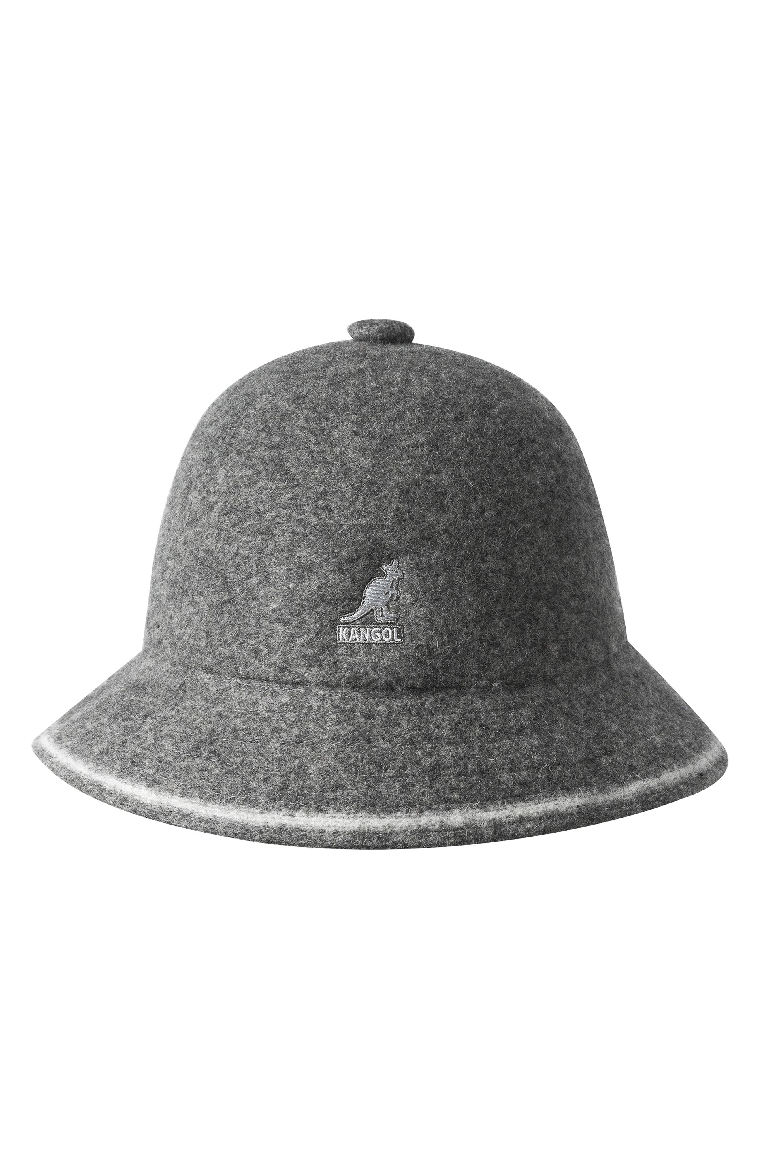 KANGOL Cloche Hat - Grey in Flan/ Off Wht