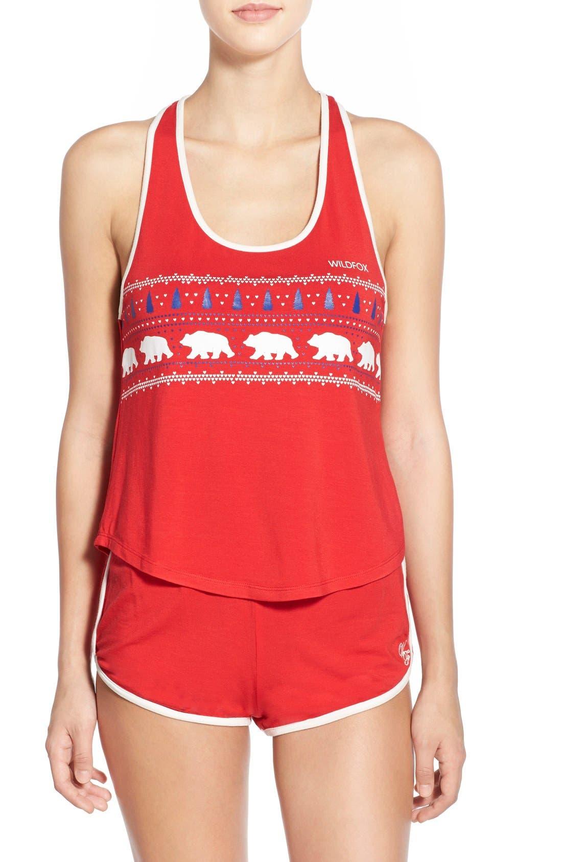 WILDFOX 'Alaska Bears' Jersey Pajamas, Main, color, 600