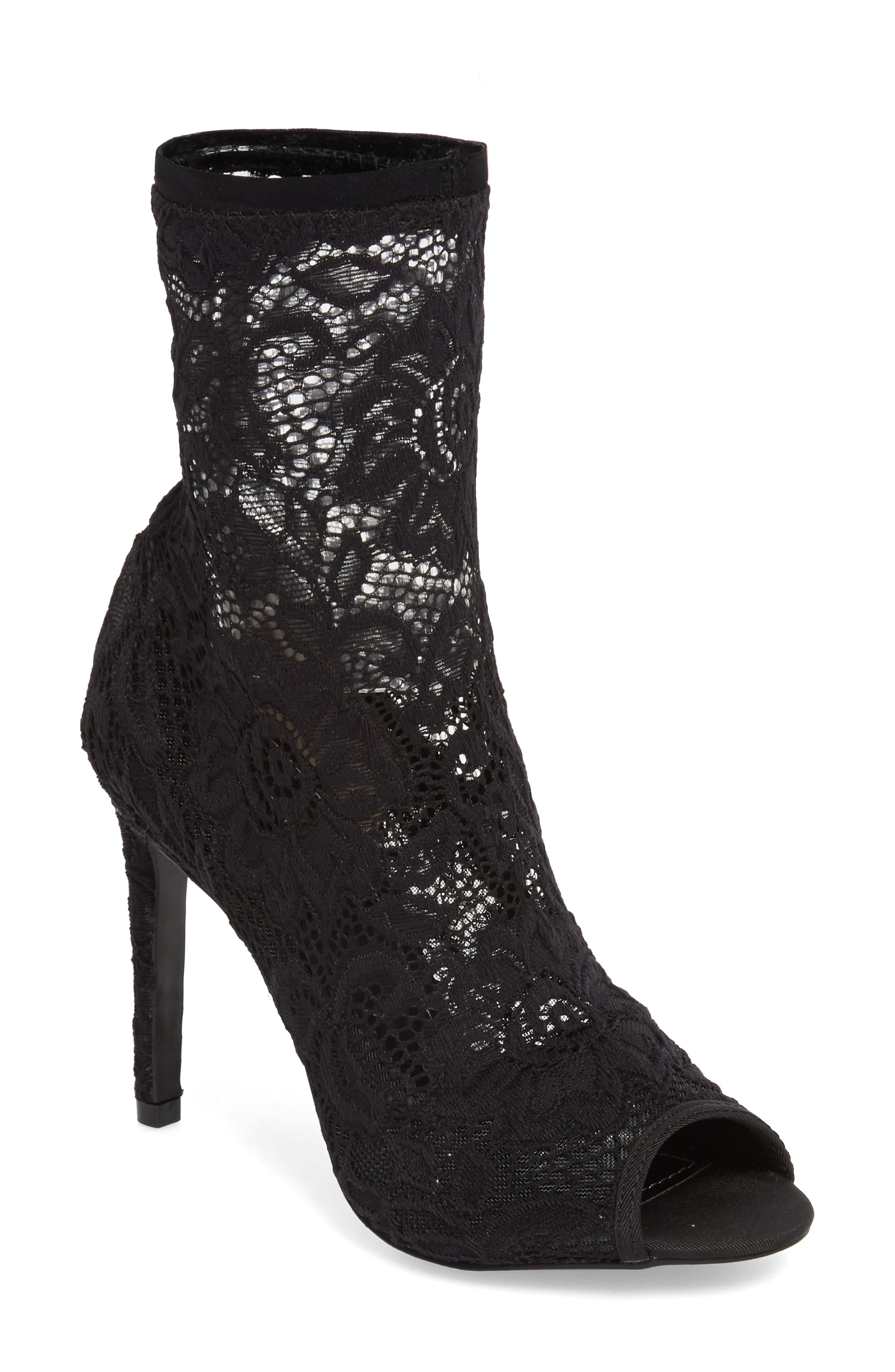 Imaginary Lace Sock Bootie,                             Main thumbnail 1, color,                             BLACK FABRIC