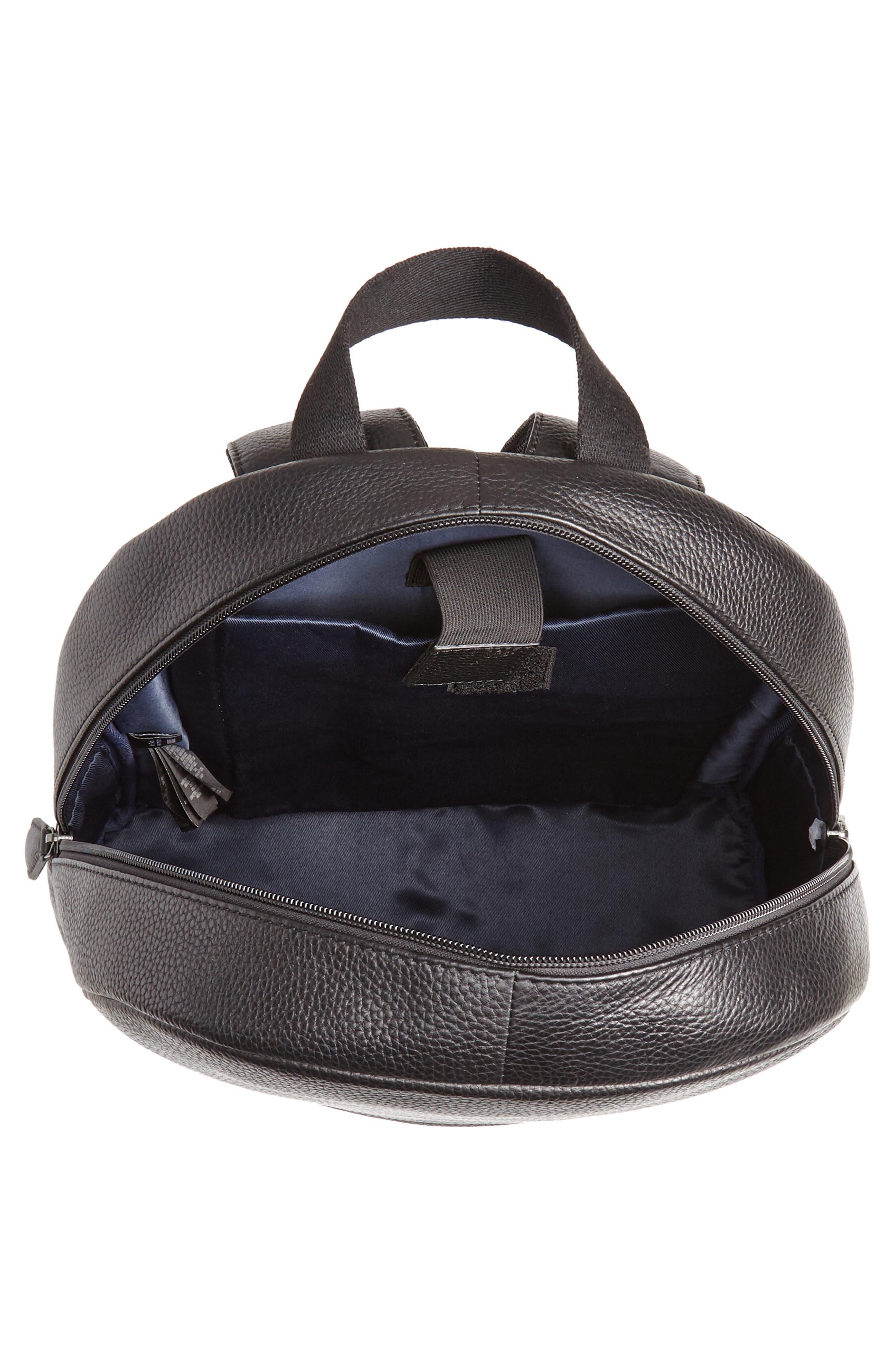 Rickrak Leather Backpack,                             Alternate thumbnail 4, color,                             BLACK