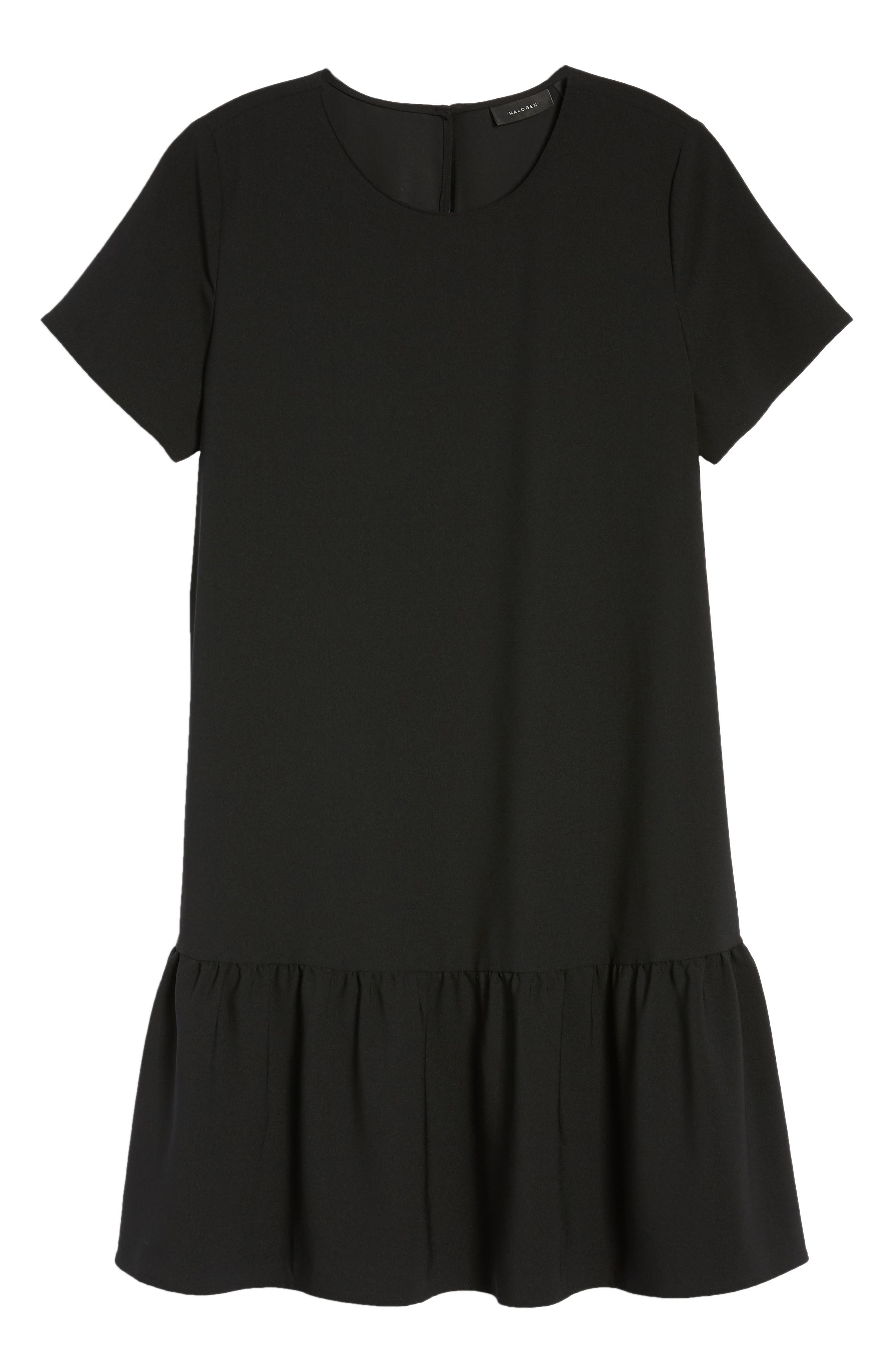 Short Sleeve Ruffle Hem Dress,                             Alternate thumbnail 7, color,                             001
