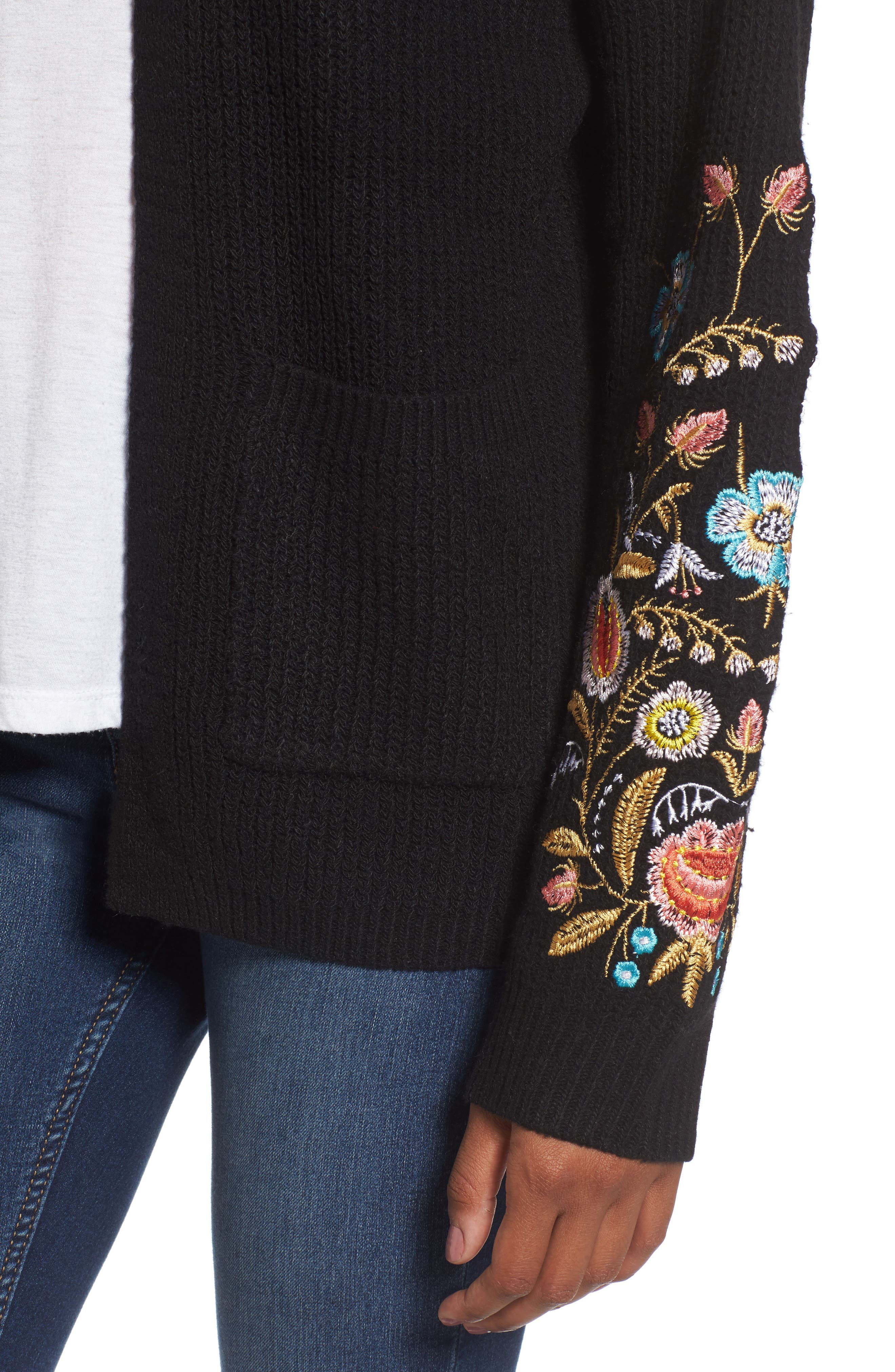 Embroidered Cardigan,                             Alternate thumbnail 4, color,                             001