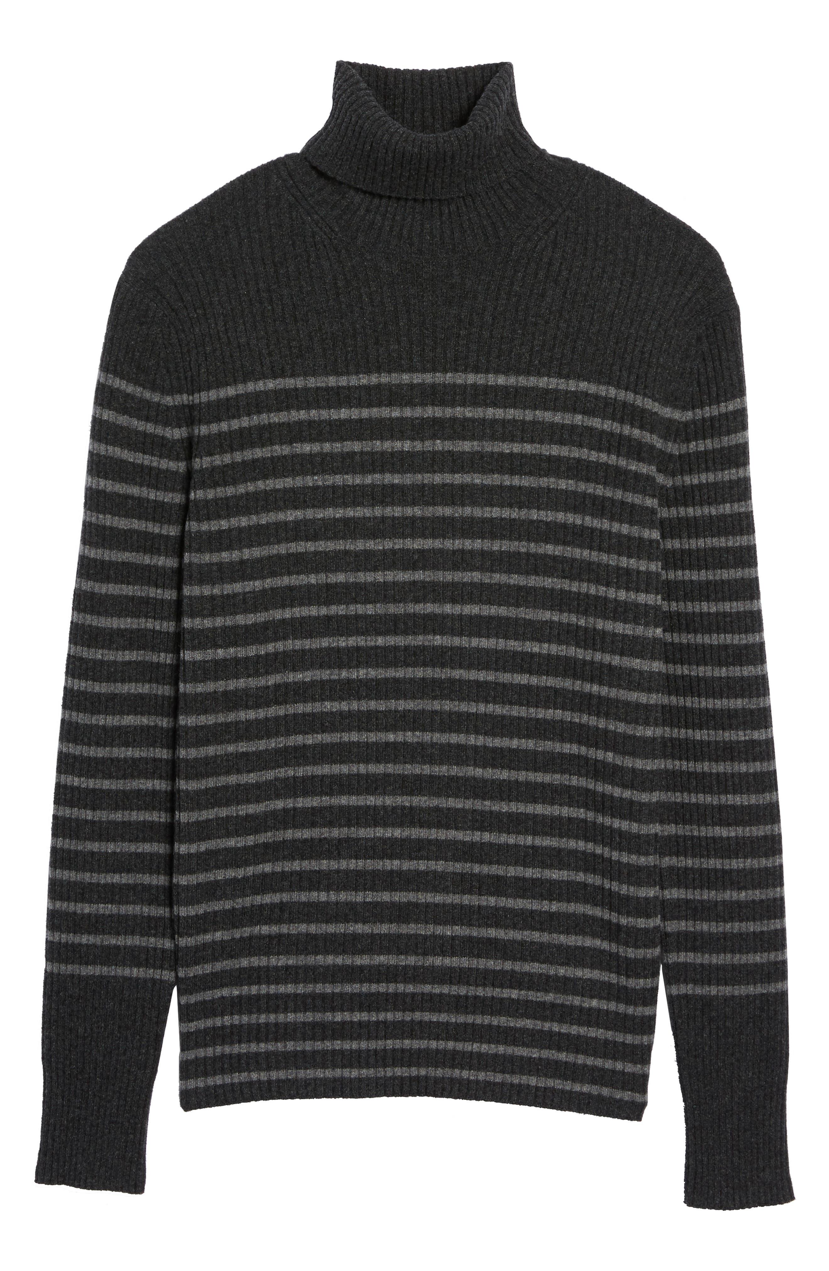 Regular Fit Breton Stripe Cashmere Turtleneck Sweater,                             Alternate thumbnail 11, color,