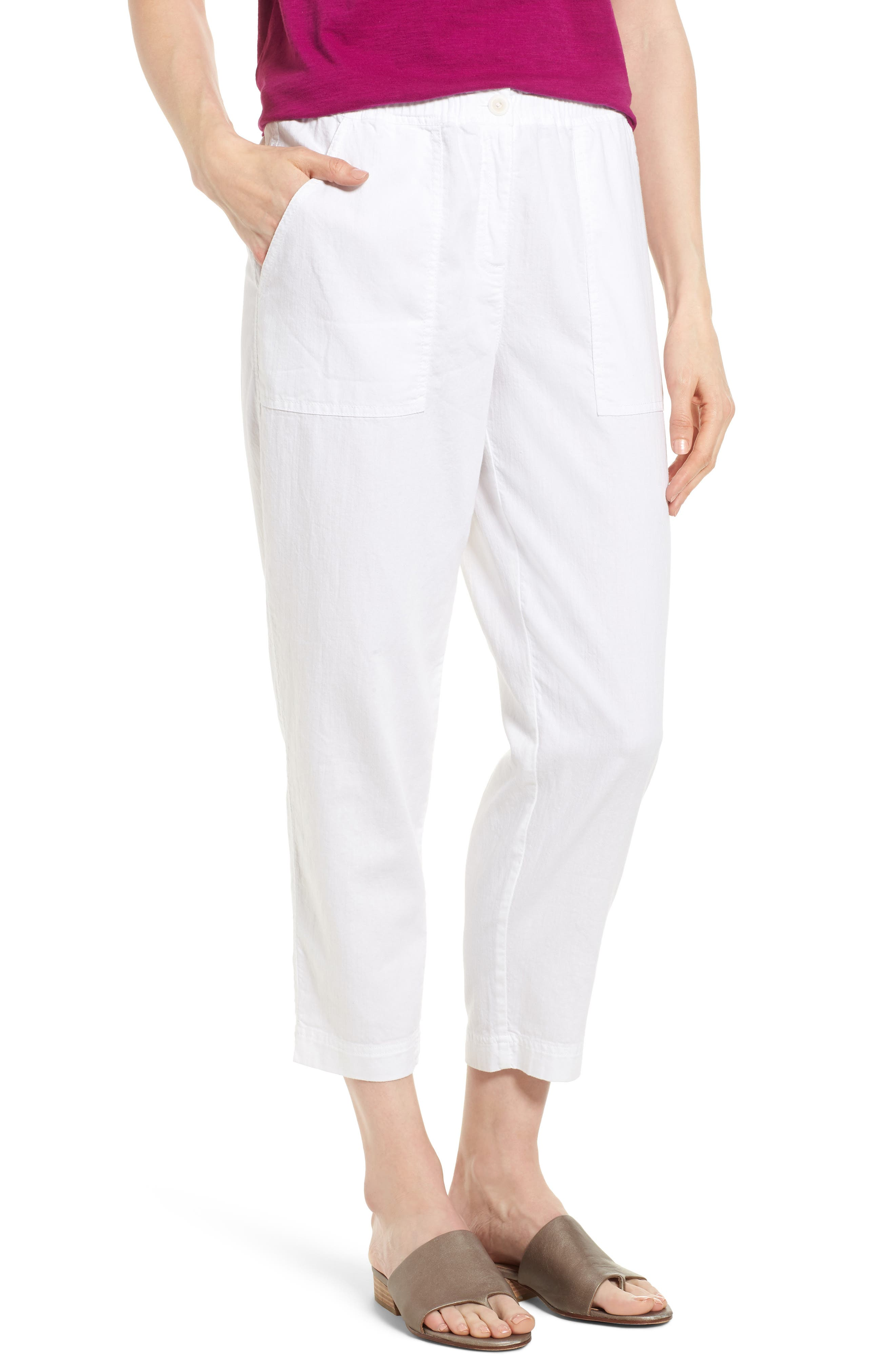 Tapered Organic Cotton Crop Pants,                         Main,                         color, WHITE