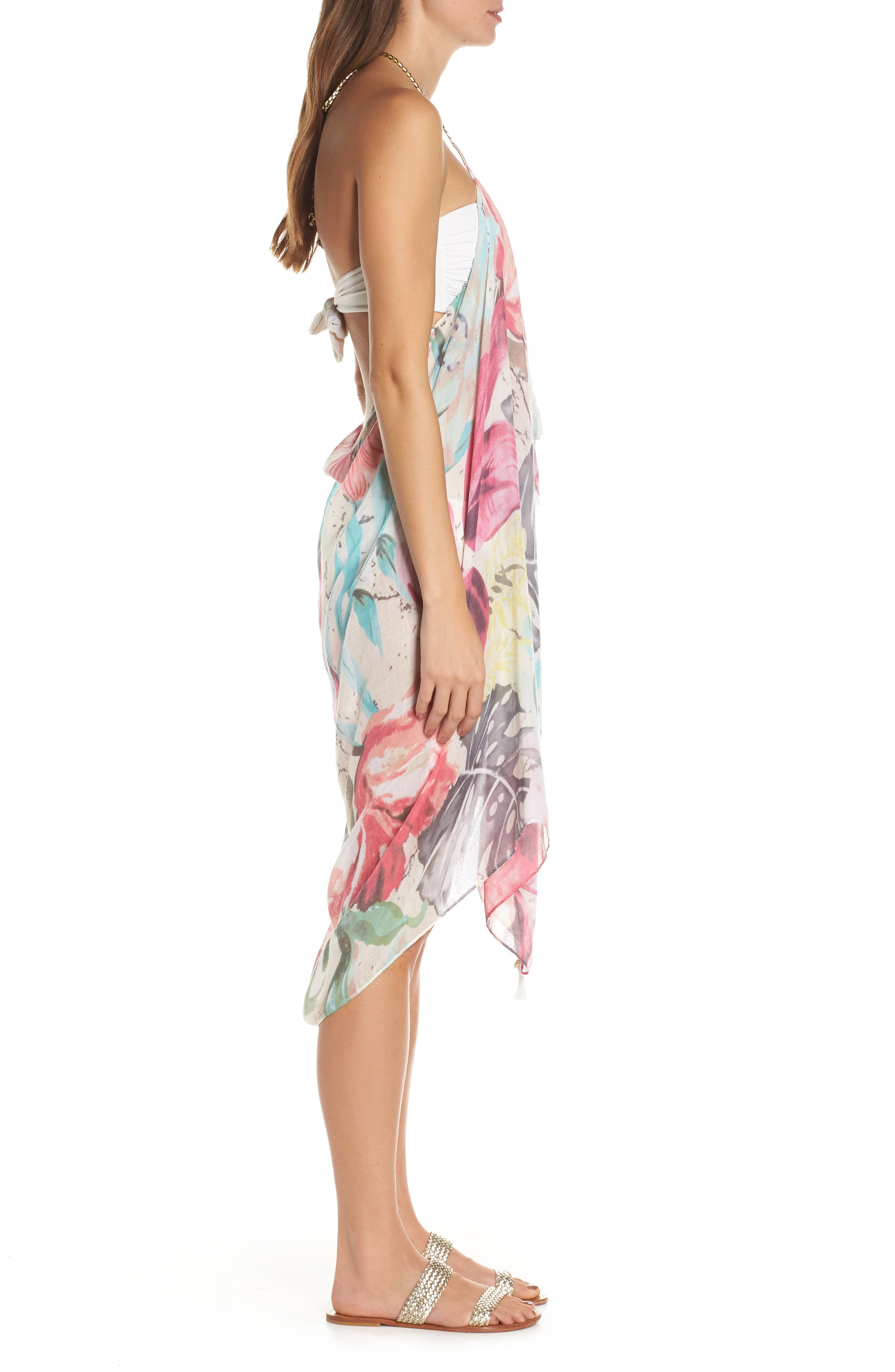 POOL TO PARTY,                             Beach to Street Cover-Up Maxi Dress,                             Alternate thumbnail 3, color,                             ALOHA BLOOM