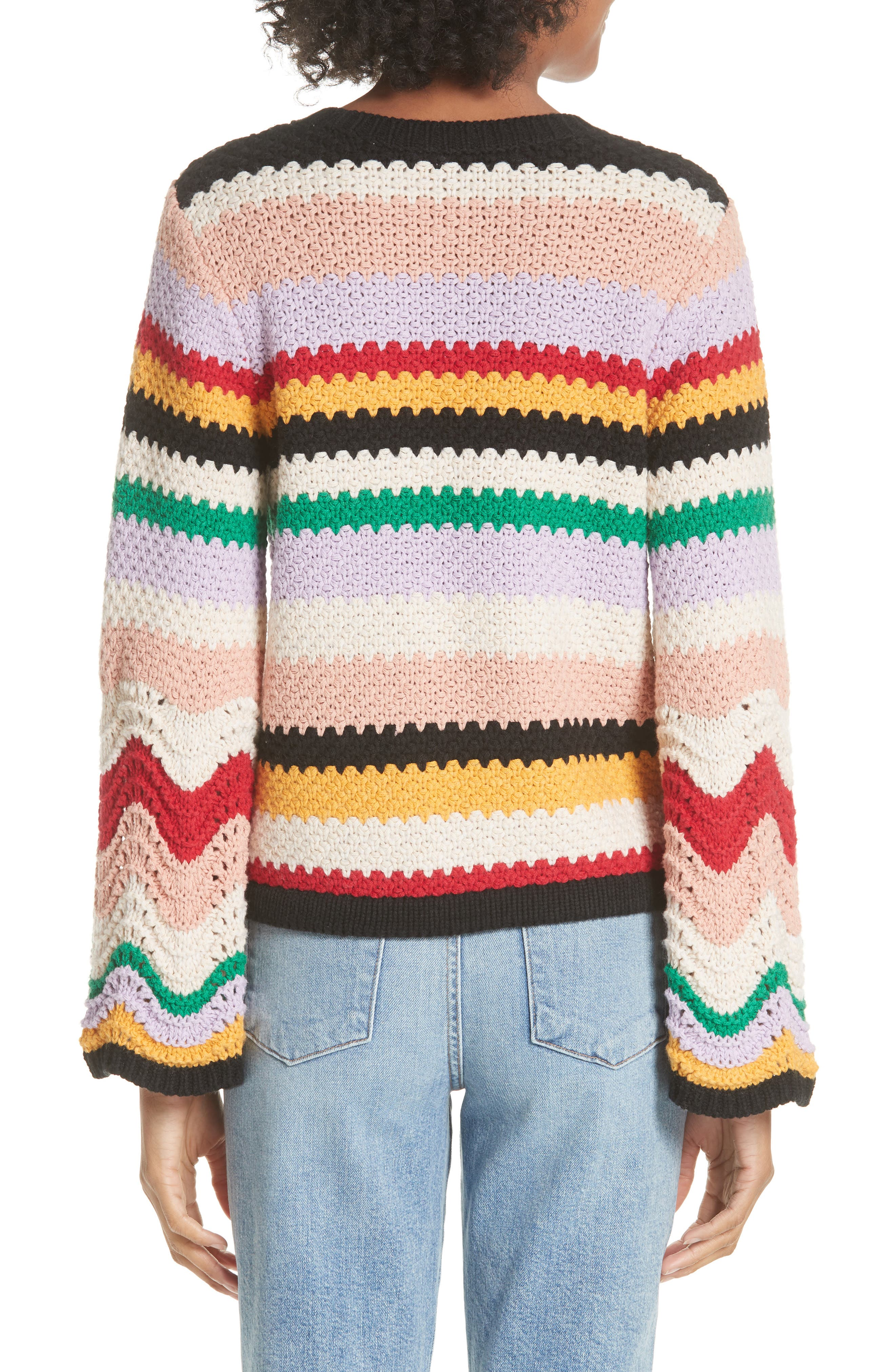 Alivia Stripe Bell Sleeve Cotton Blend Sweater,                             Alternate thumbnail 2, color,                             MULTI