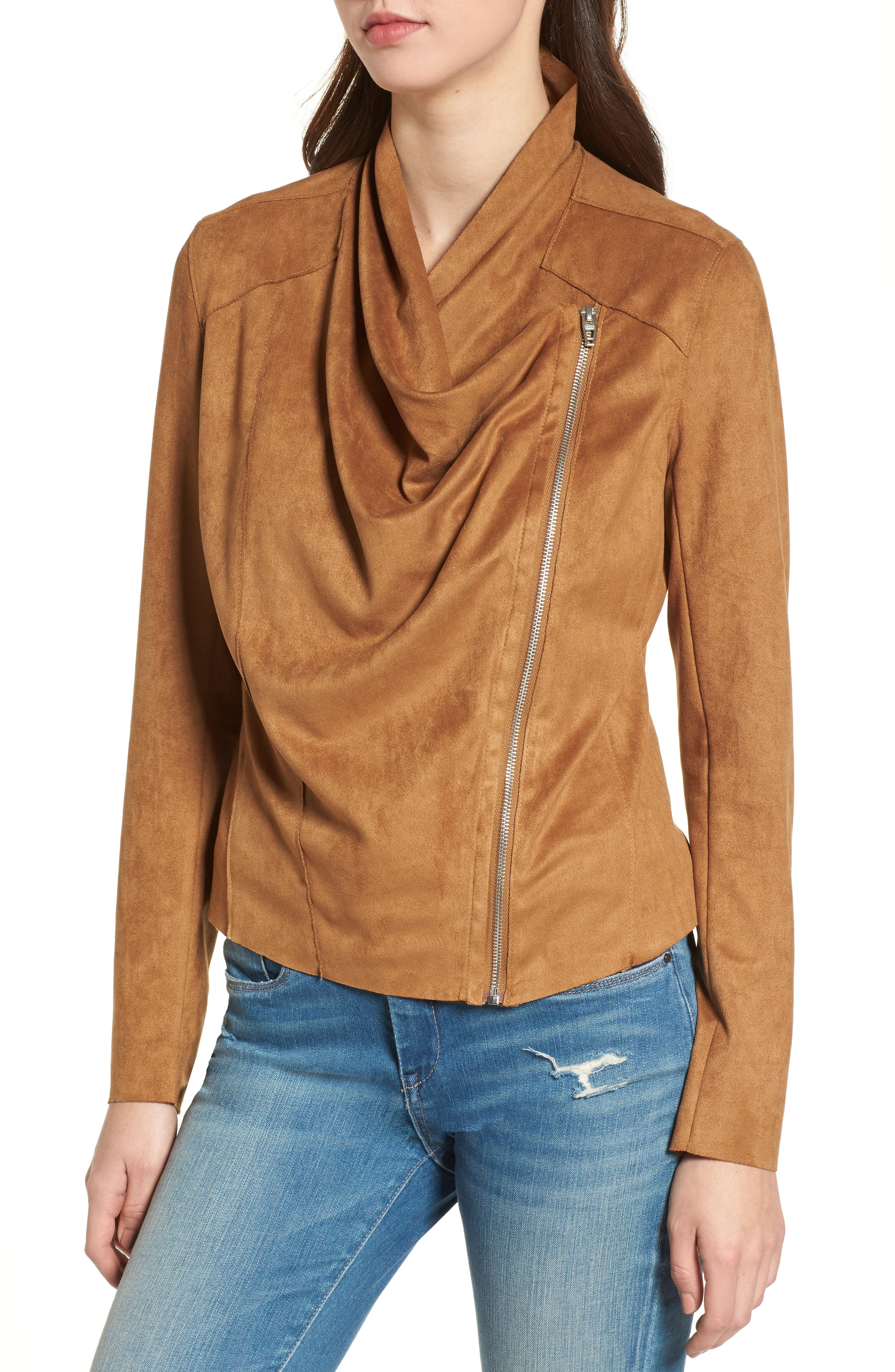 BLANKNYC,                             Drape Front Faux Suede Jacket,                             Alternate thumbnail 4, color,                             CAMEL BACK BROWN