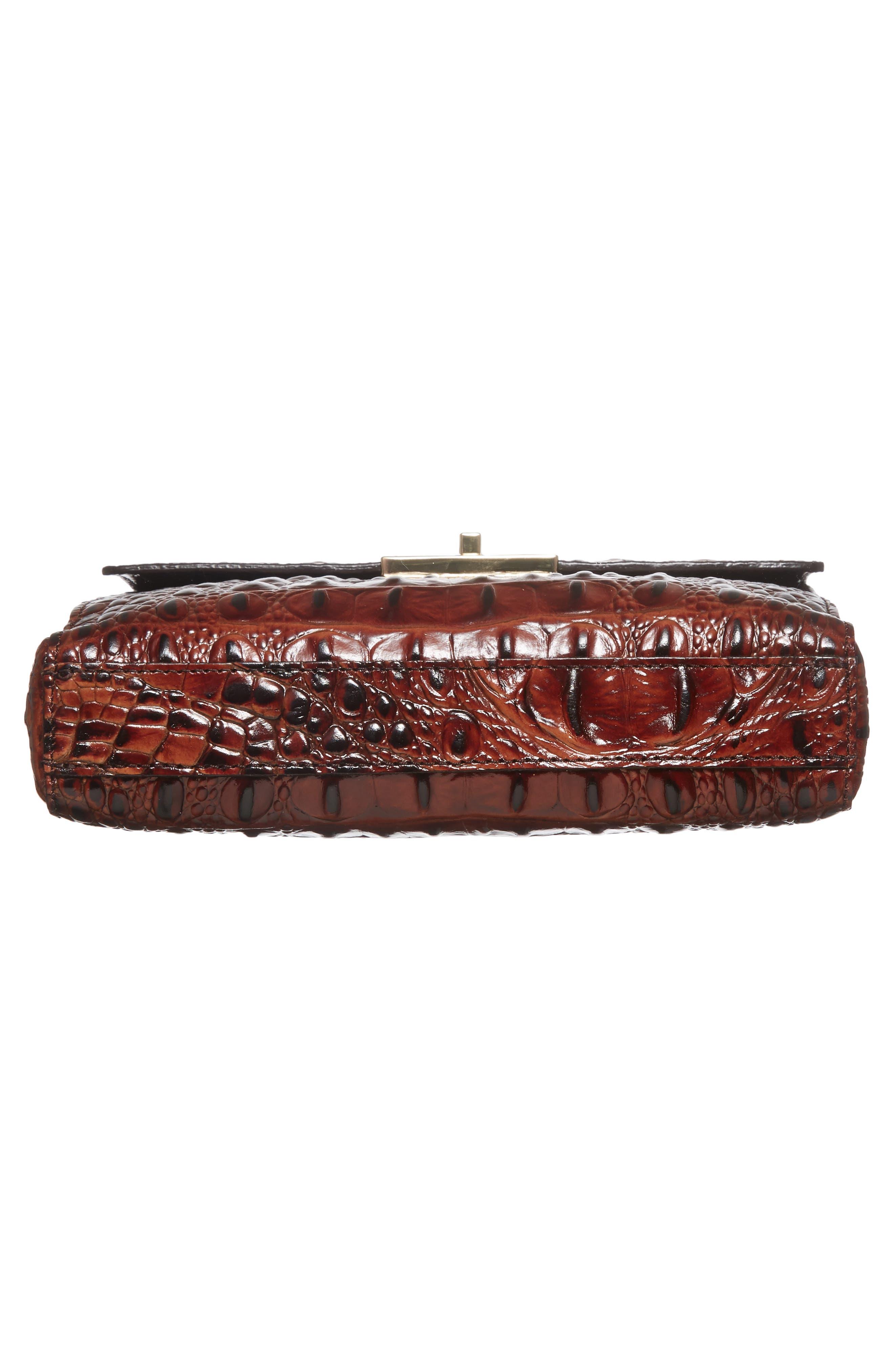 Melbourne Manhattan Croc Embossed Leather Crossbody Bag,                             Alternate thumbnail 6, color,                             PECAN