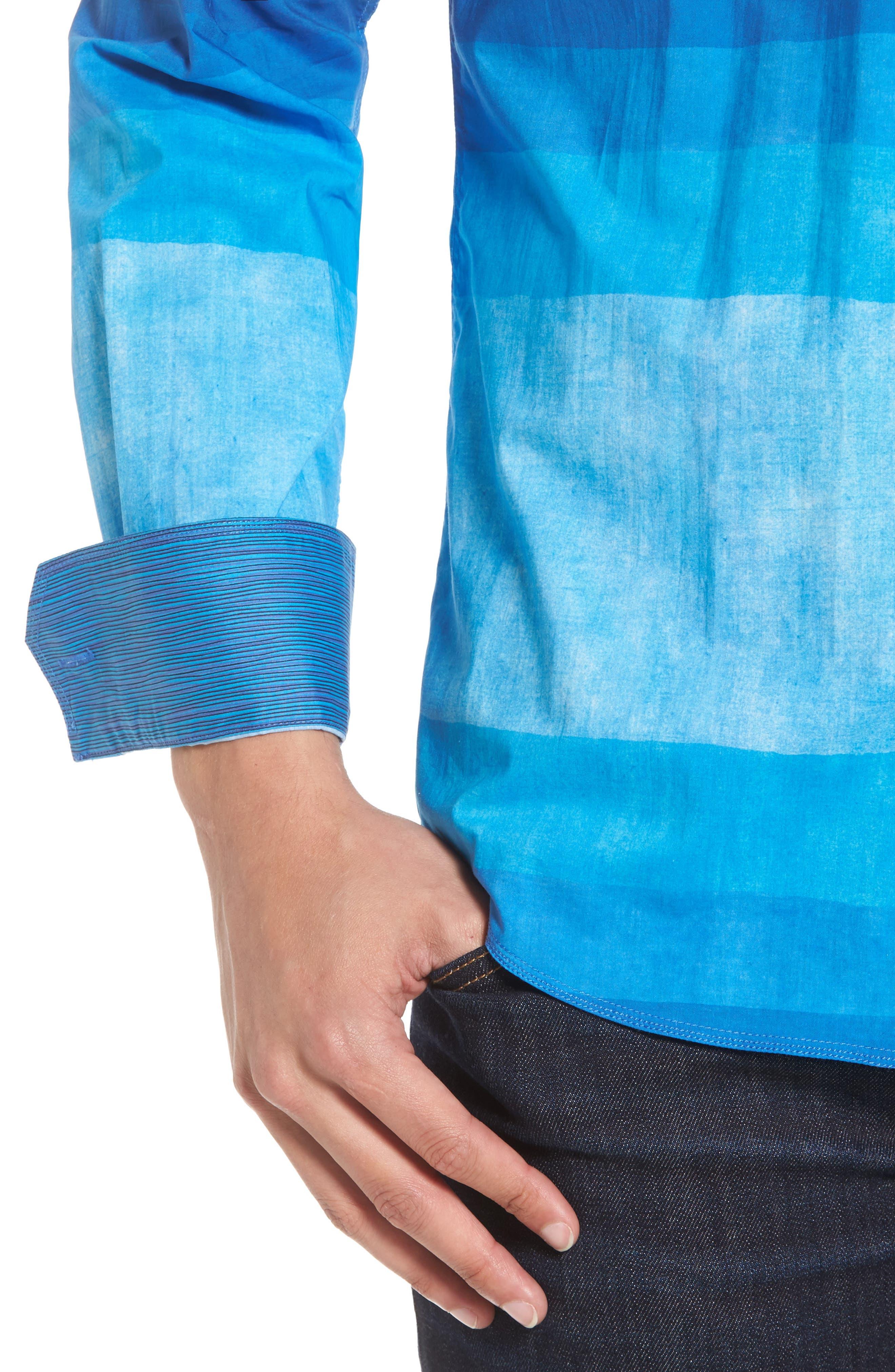 Shaped Fit Colorblock Sport Shirt,                             Alternate thumbnail 4, color,                             422