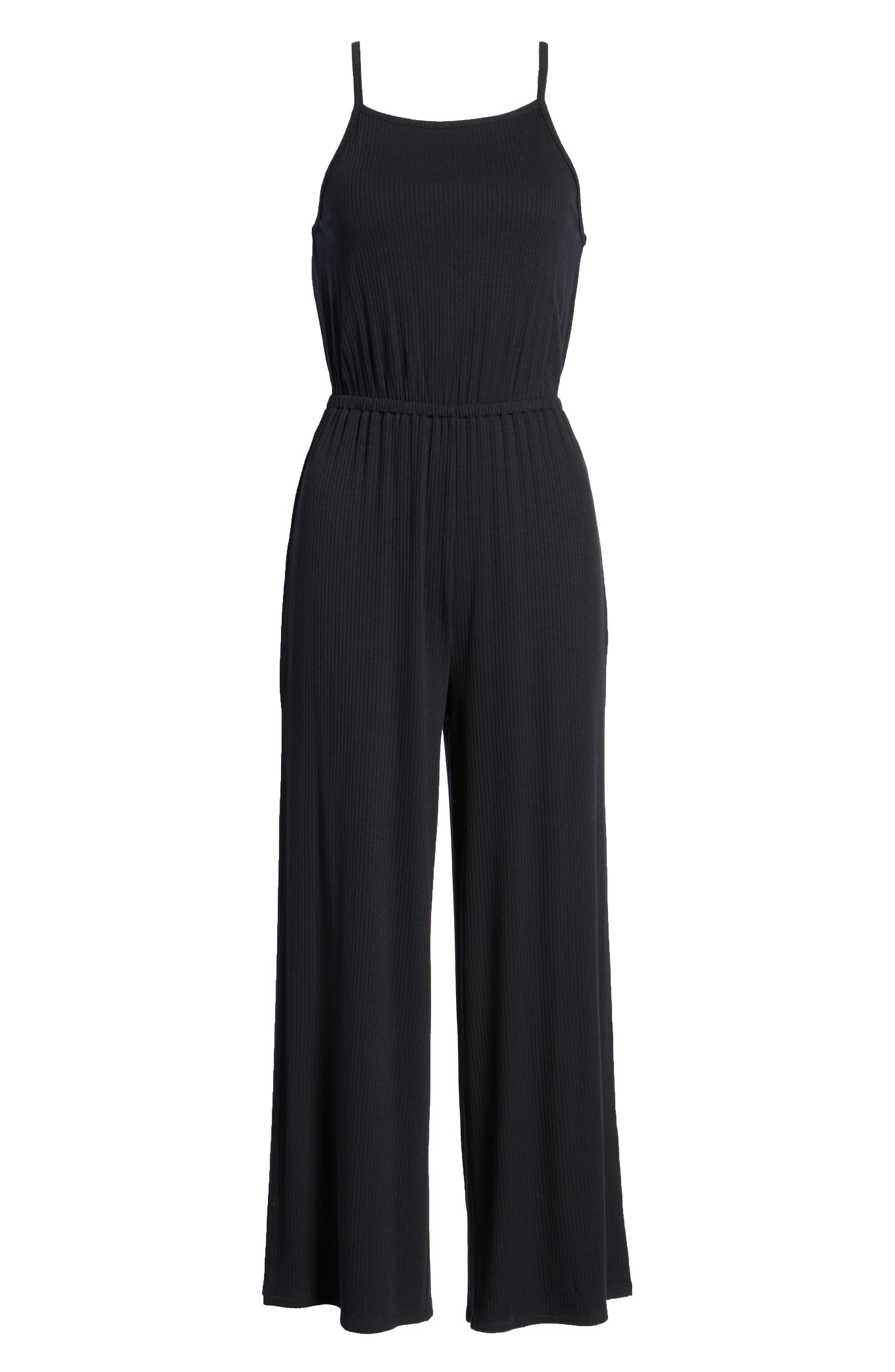 Macall Rib Knit Wide Leg Jumpsuit,                             Alternate thumbnail 7, color,                             BLACK