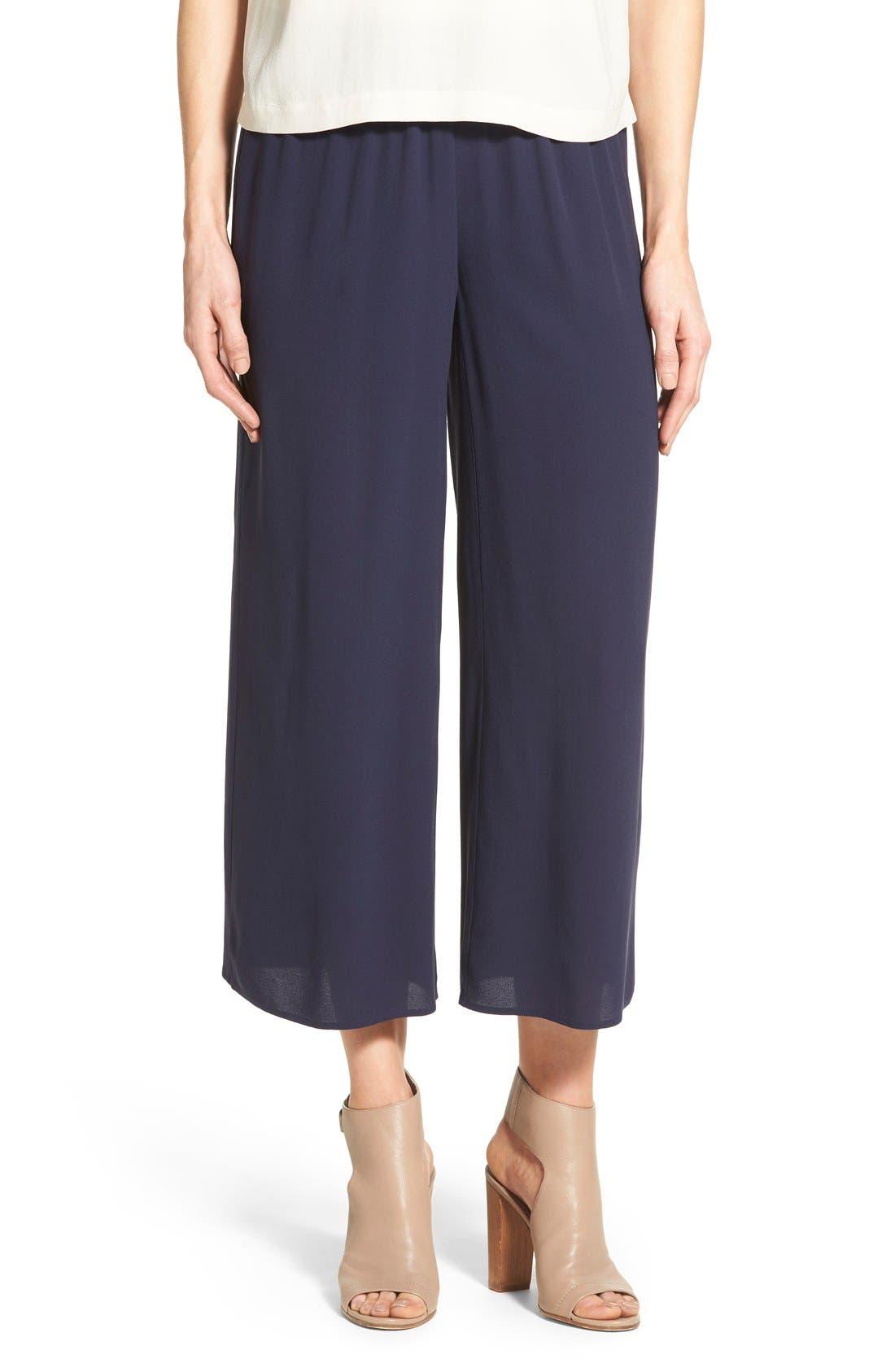 women's eileen fisher silk wide leg crop pants, size xx-small - blue
