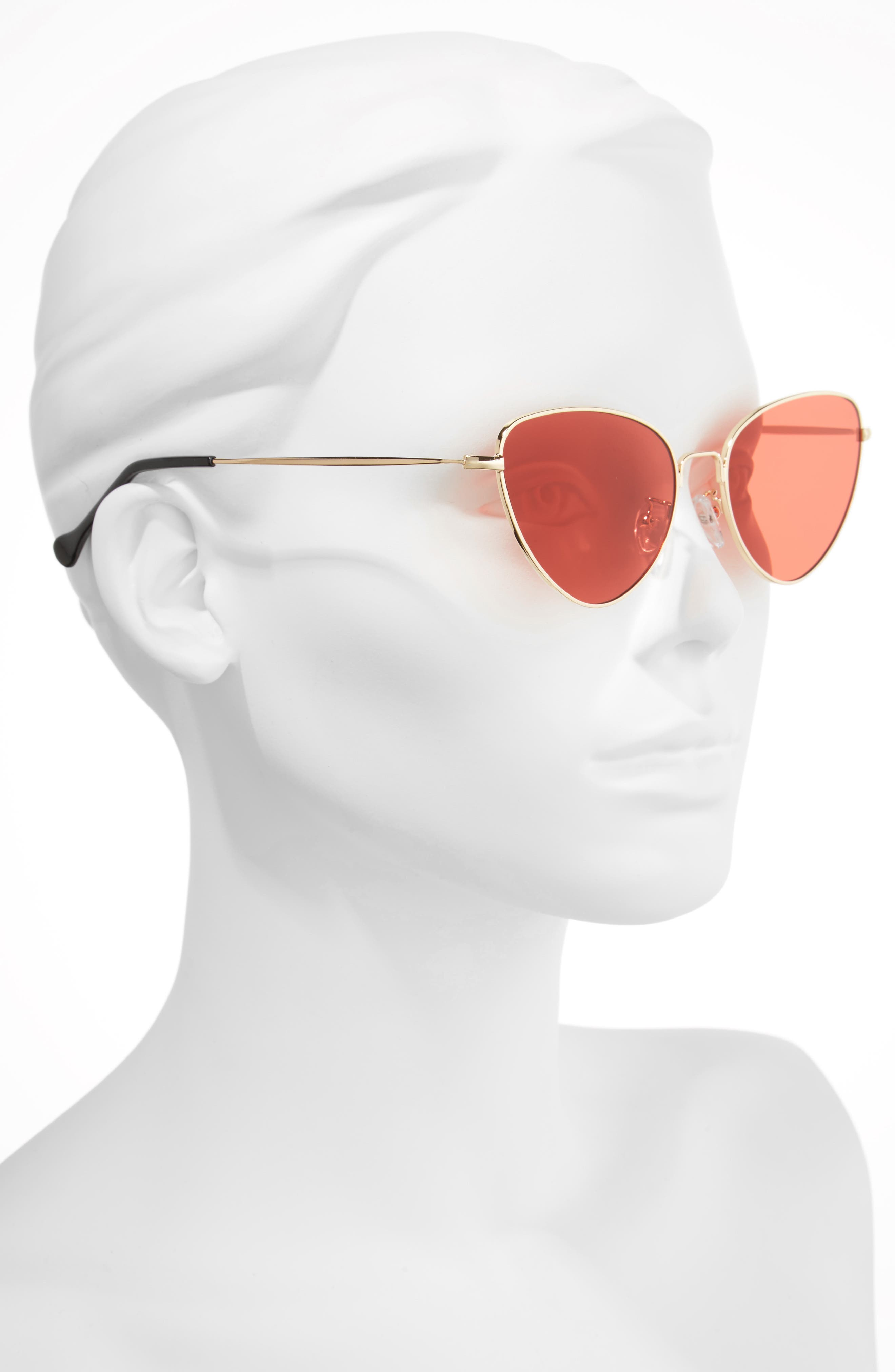 The Bella 55mm Cat Eye Sunglasses,                             Alternate thumbnail 2, color,                             RED