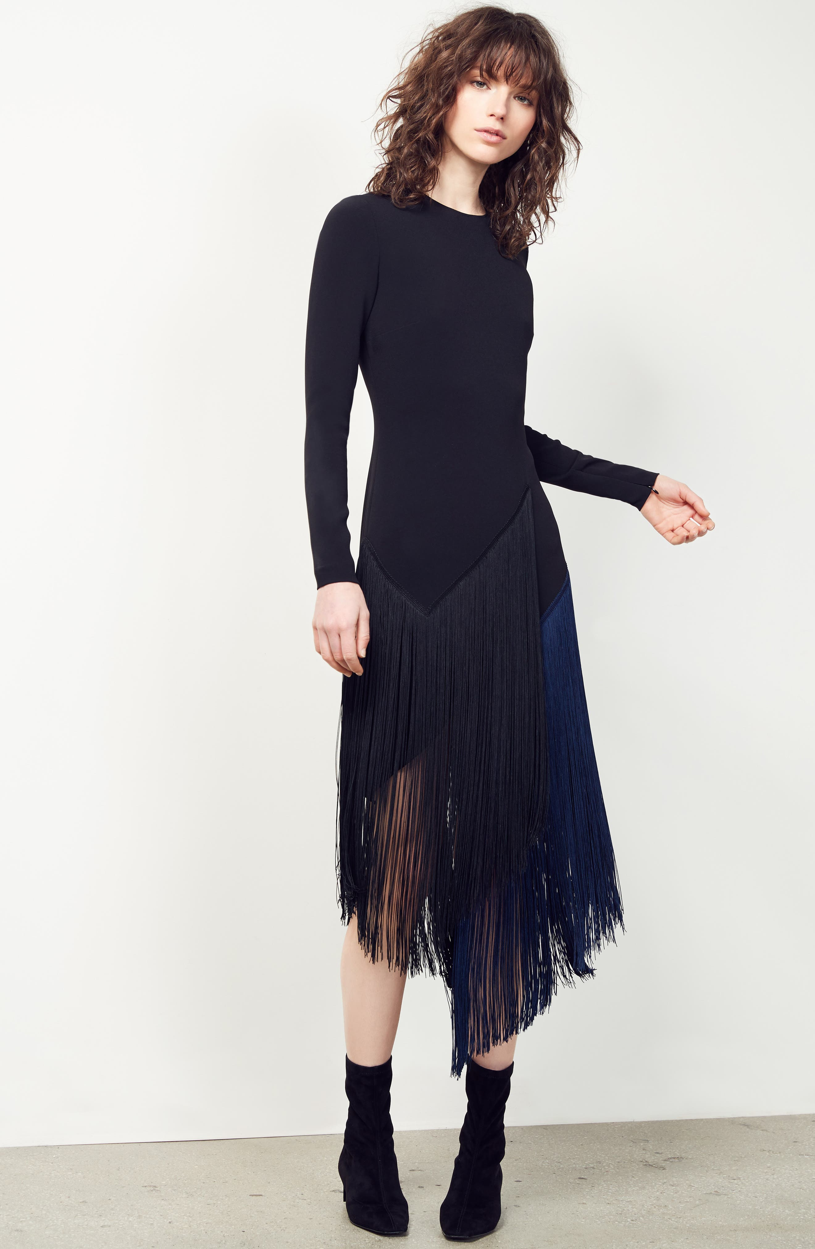 Fringe Skirt Stretch Cady Dress,                             Main thumbnail 1, color,                             001