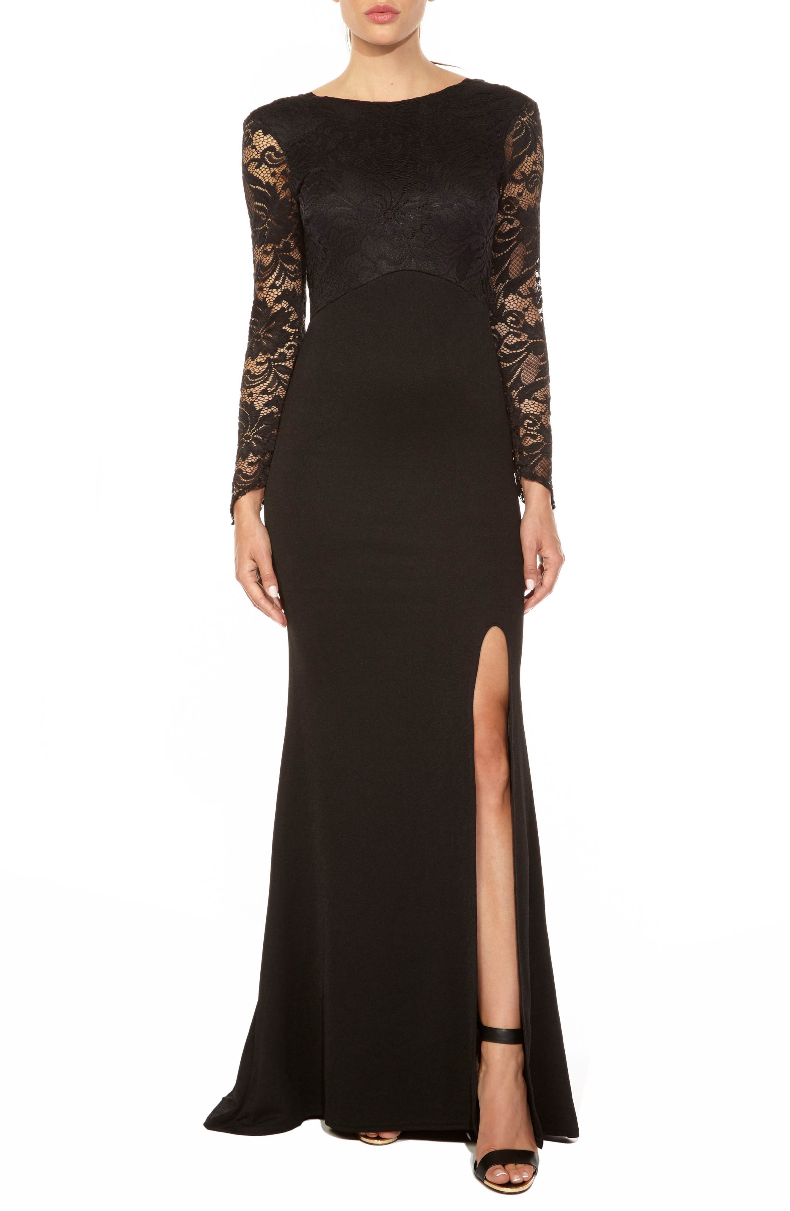 Seraphina Lace Gown,                             Main thumbnail 1, color,                             BLACK