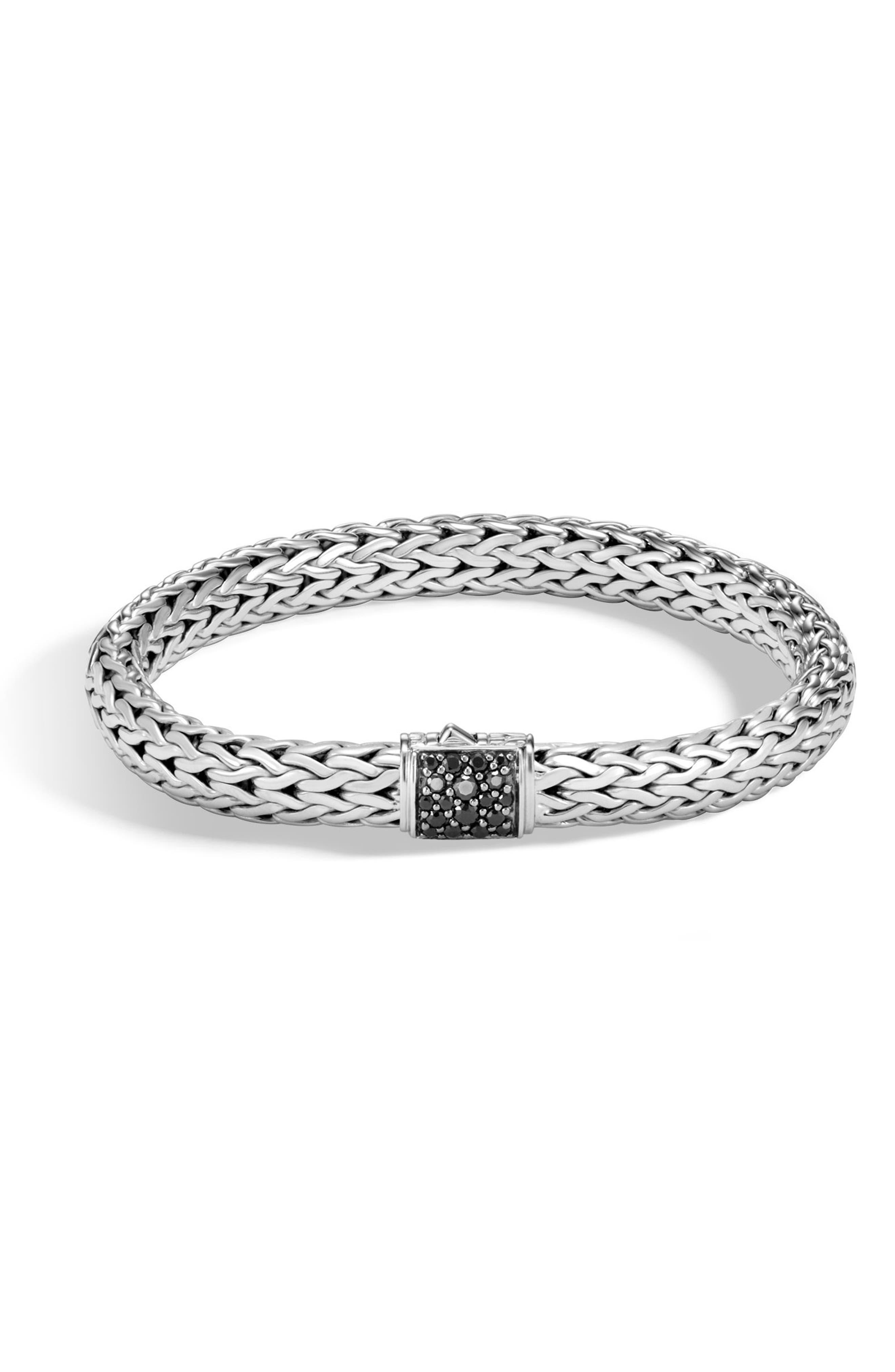 Men's Lava Square Chain Bracelet,                         Main,                         color, SILVER/ BLACK SAPPHIRE