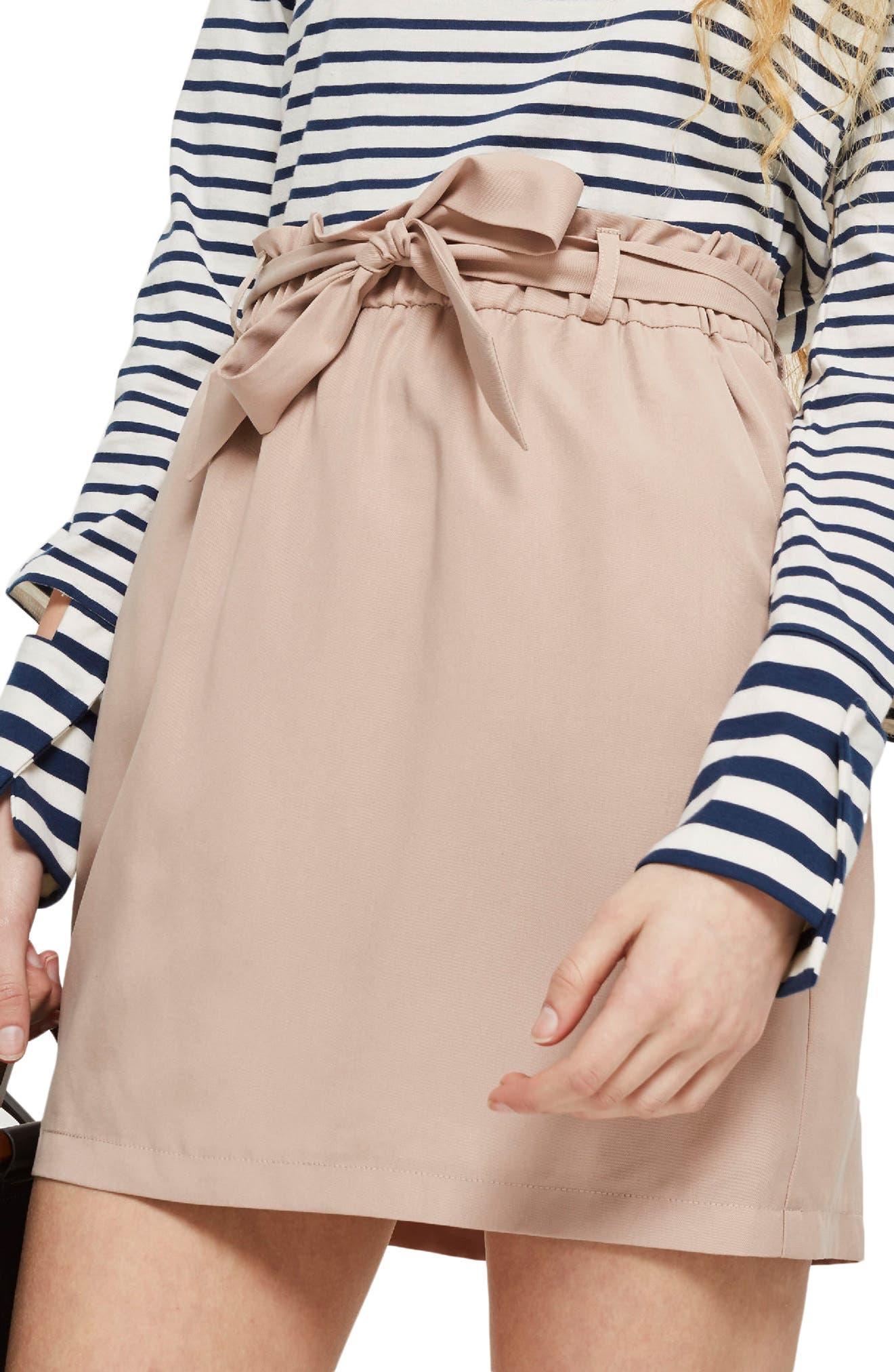 Paperbag Tie Miniskirt,                             Alternate thumbnail 3, color,                             680