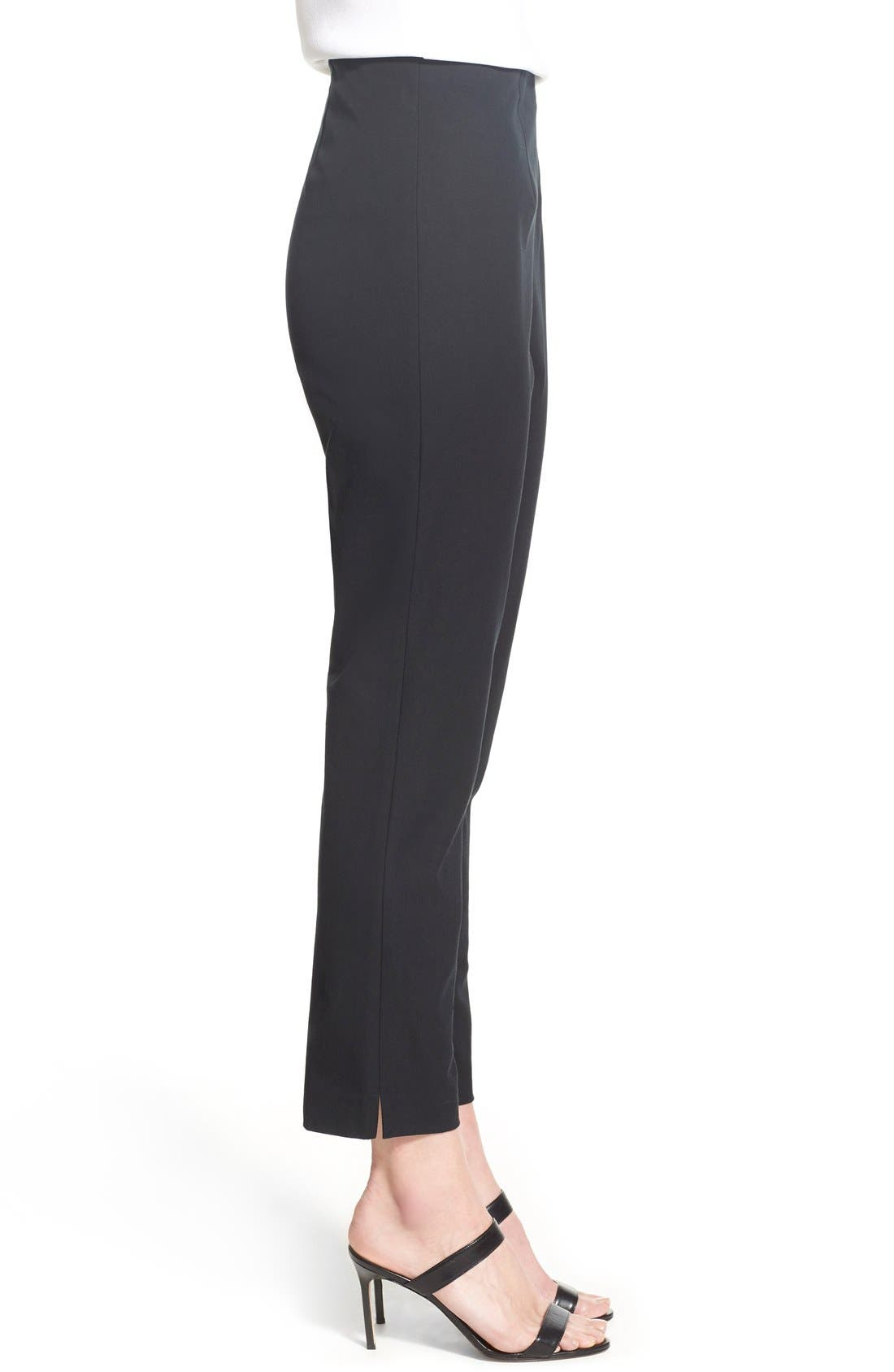 MING WANG,                             Woven Slim Ankle Pants,                             Alternate thumbnail 8, color,                             BLACK
