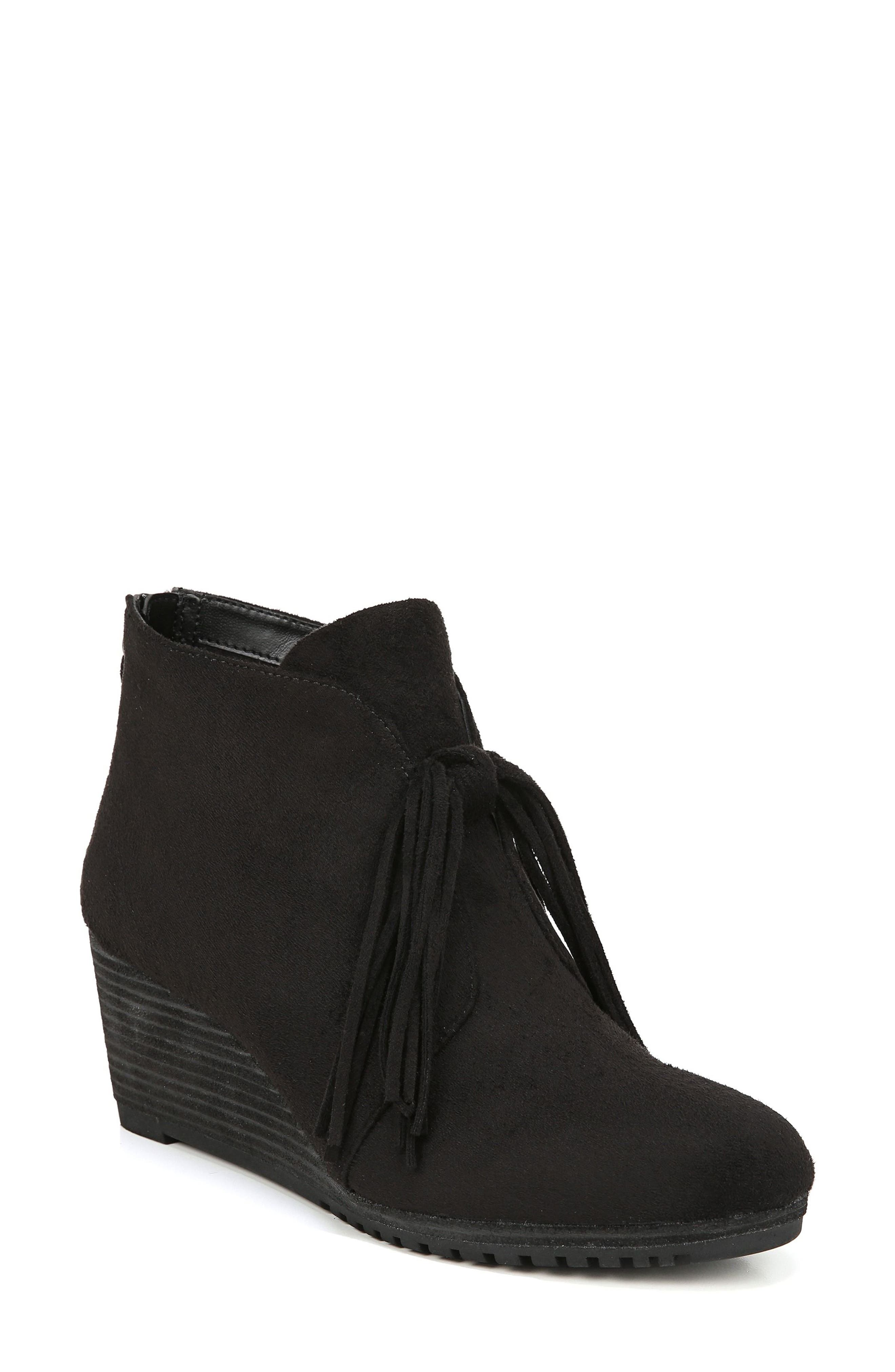 Classify Tassel Wedge Bootie,                             Main thumbnail 1, color,                             BLACK FABRIC