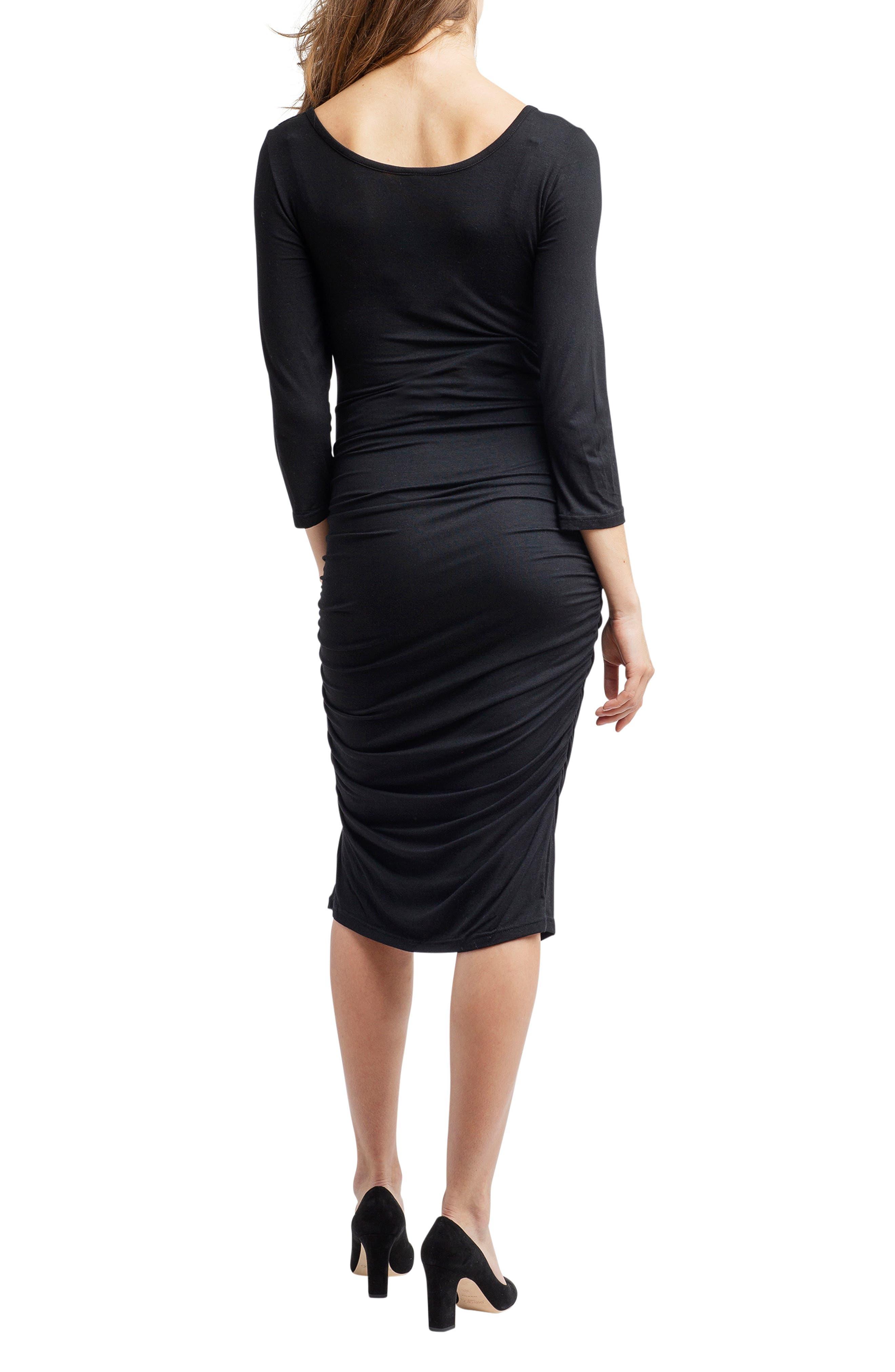 Nom Henley Maternity Dress,                             Alternate thumbnail 2, color,                             BLACK