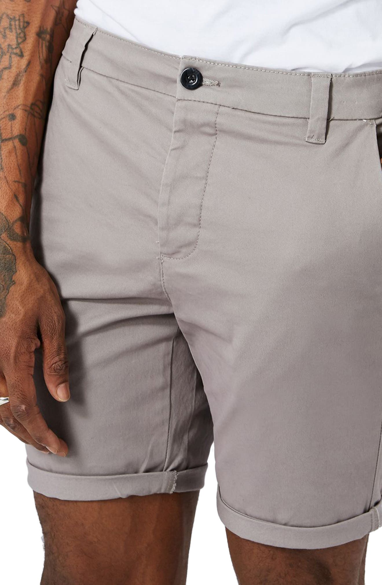Stretch Skinny Fit Chino Shorts,                             Alternate thumbnail 3, color,                             030
