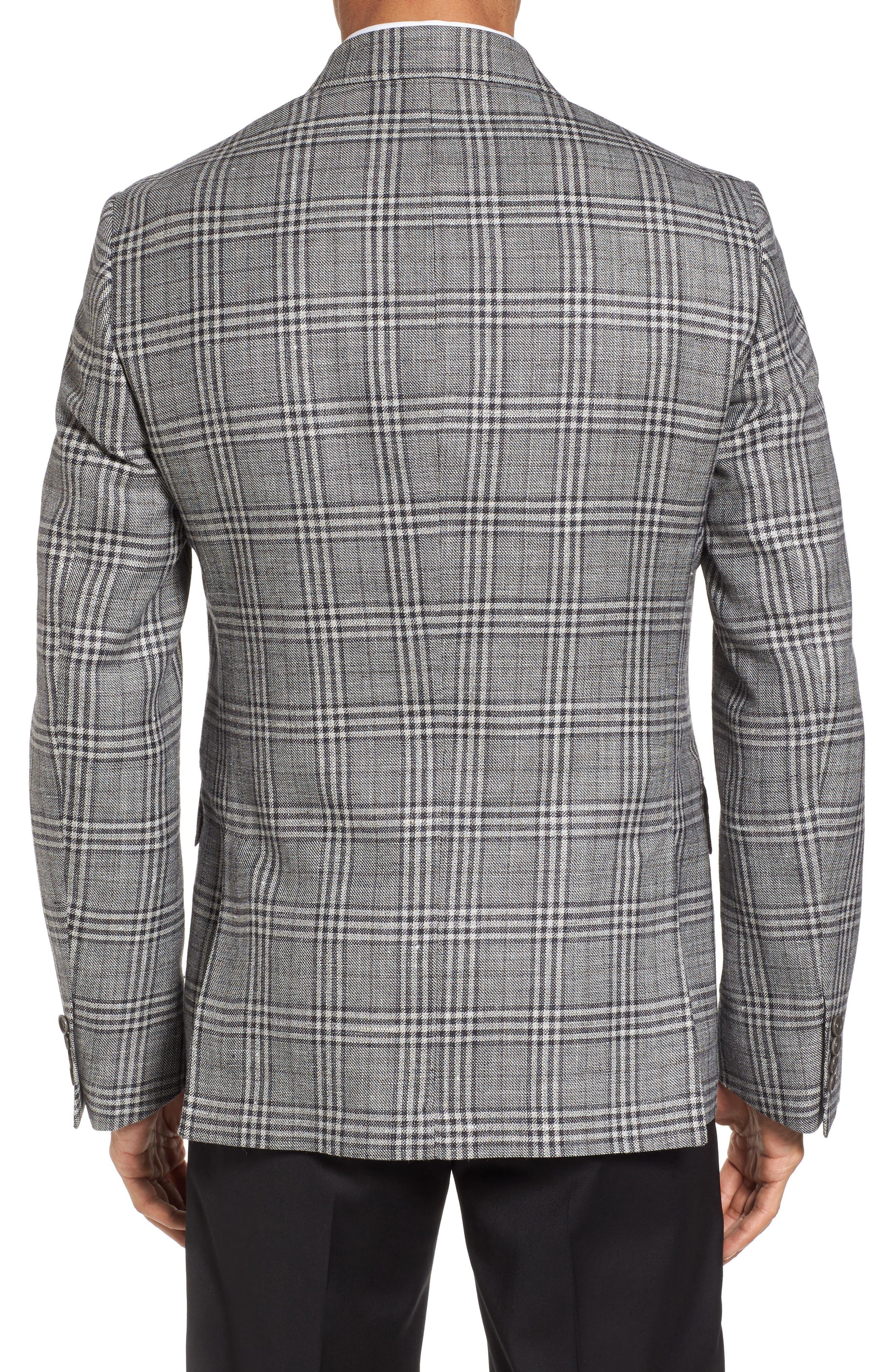 Trim Fit Plaid Wool Blend Sport Coat,                             Alternate thumbnail 2, color,                             030