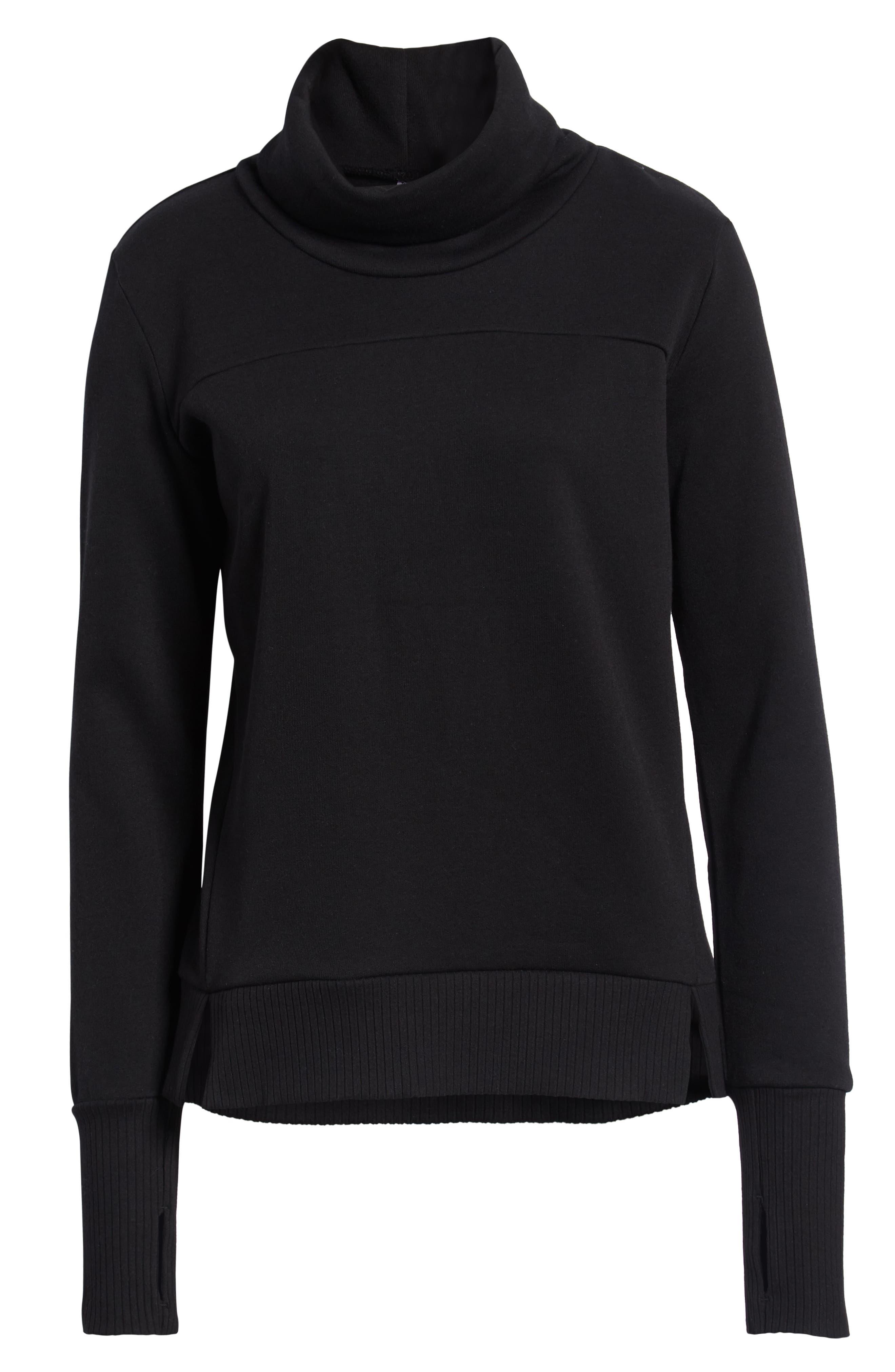 ALO,                             'Haze' Funnel Neck Sweatshirt,                             Alternate thumbnail 2, color,                             BLACK