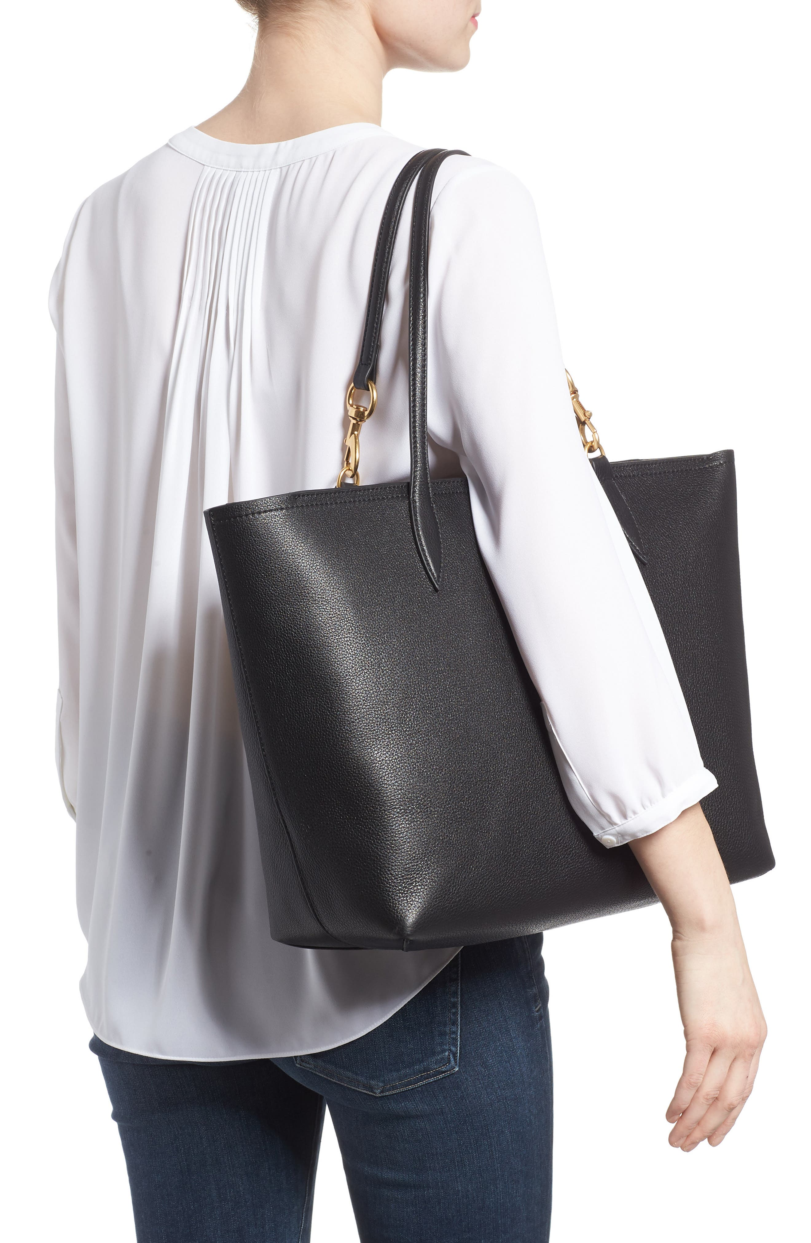 Sherry Dog Clip Leather Tote,                             Alternate thumbnail 2, color,                             BLACK/ TAUPE