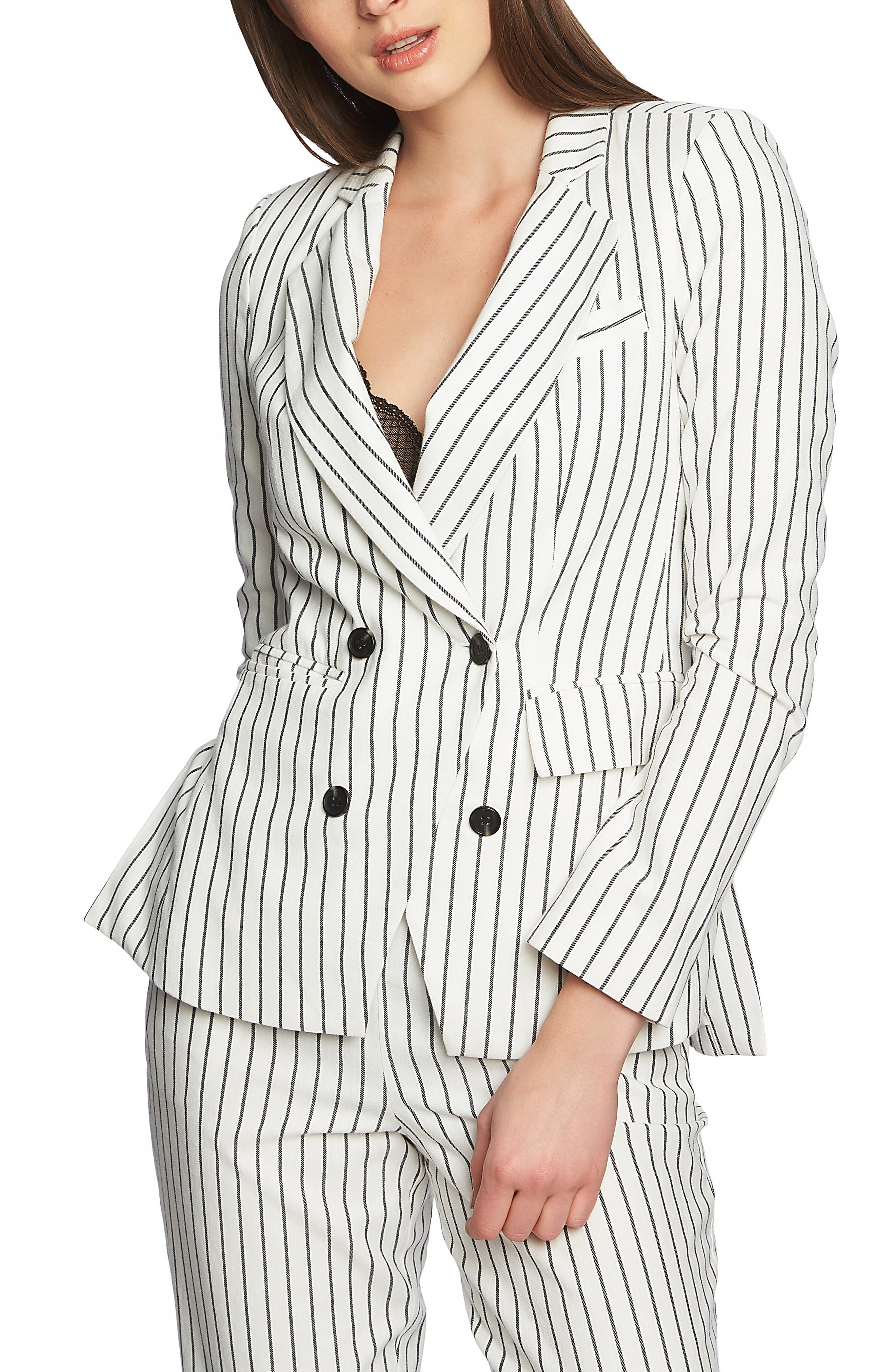 Double Breasted Stripe Cotton Blazer,                             Main thumbnail 1, color,                             SOFT ECRU