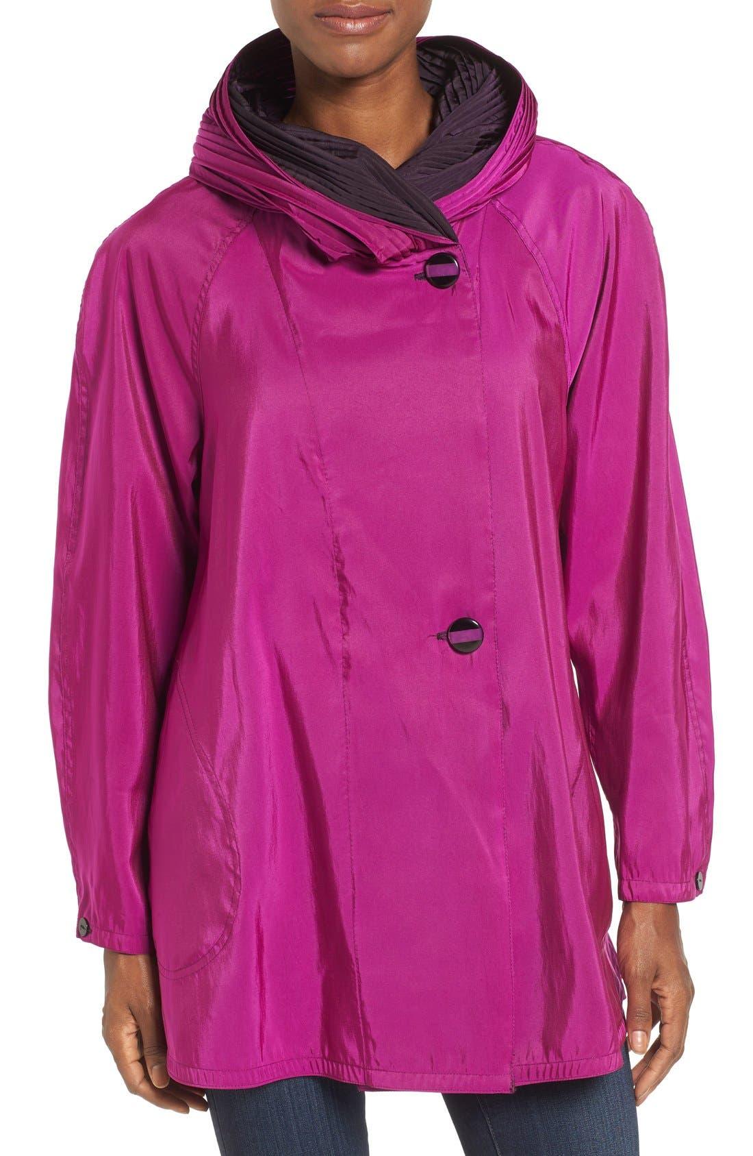 'Mini Donatella' Reversible Pleat Hood Packable Travel Coat,                             Main thumbnail 13, color,
