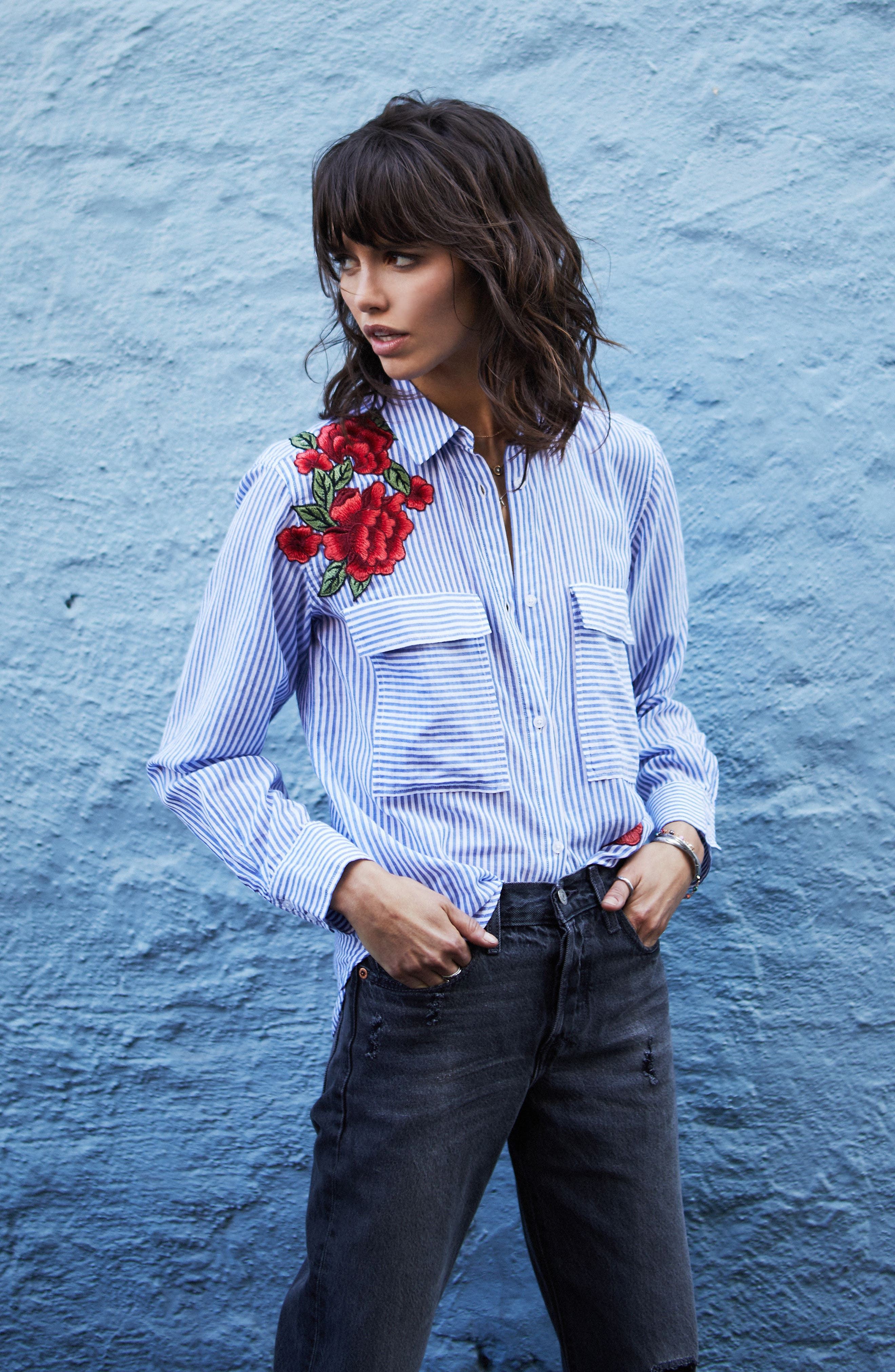 Frances Embroidered Stripe Shirt,                             Alternate thumbnail 9, color,                             425