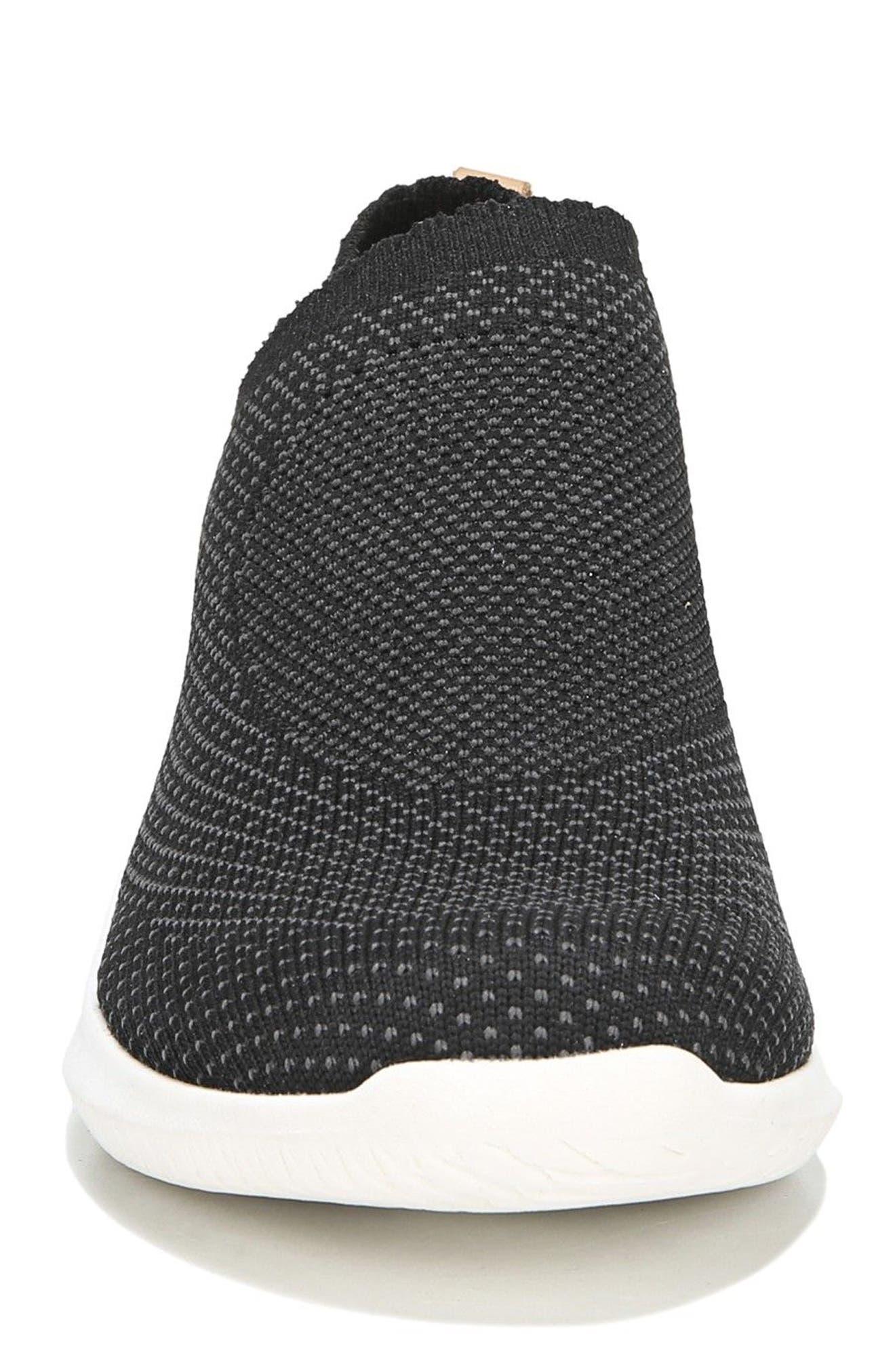 Fierce Knit Slip-On Sneaker,                             Alternate thumbnail 4, color,                             BLACK KNIT FABRIC