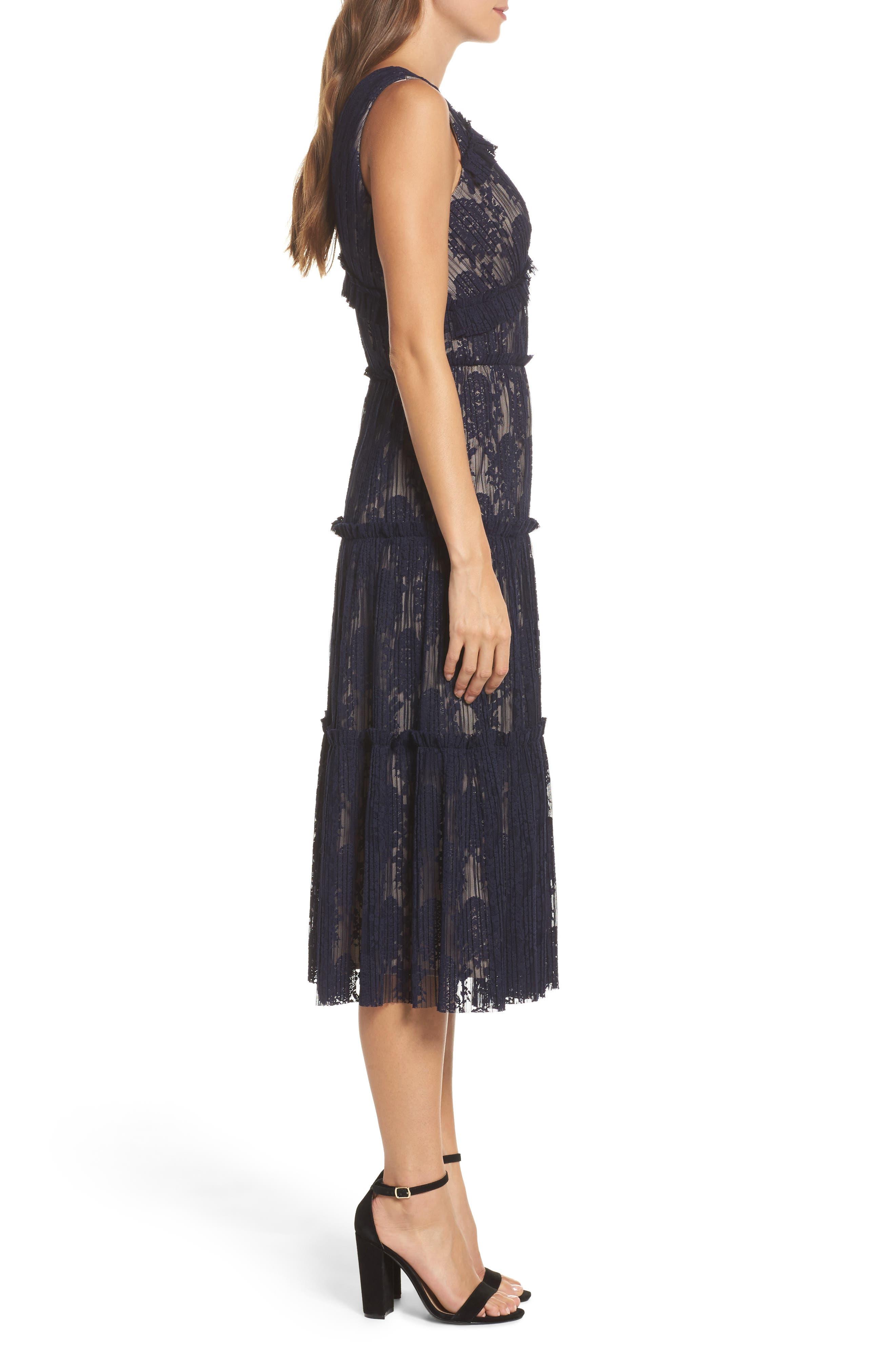 Lace Midi Dress,                             Alternate thumbnail 3, color,                             402