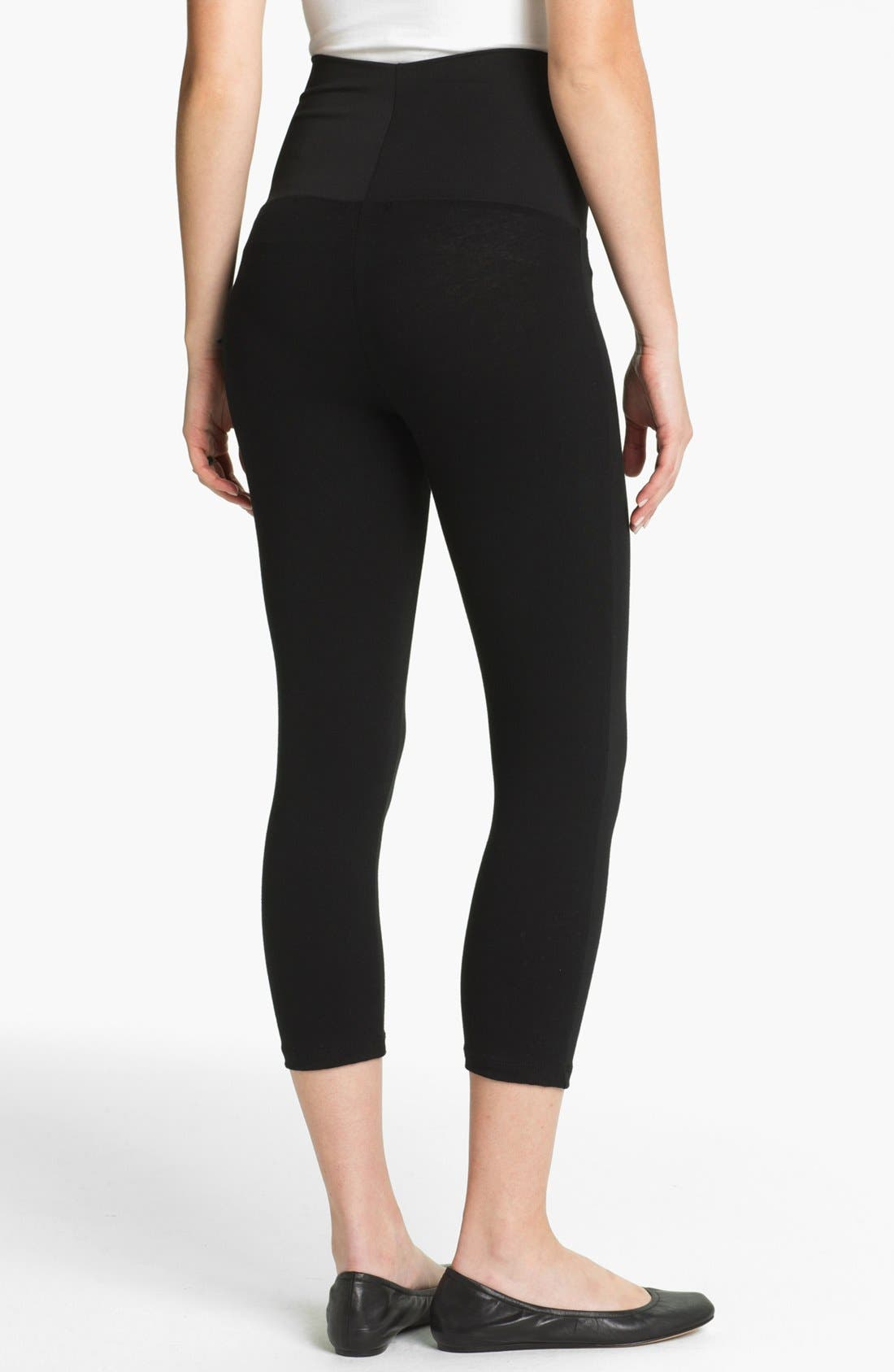 Post Support Crop Maternity Leggings,                             Alternate thumbnail 2, color,                             BLACK
