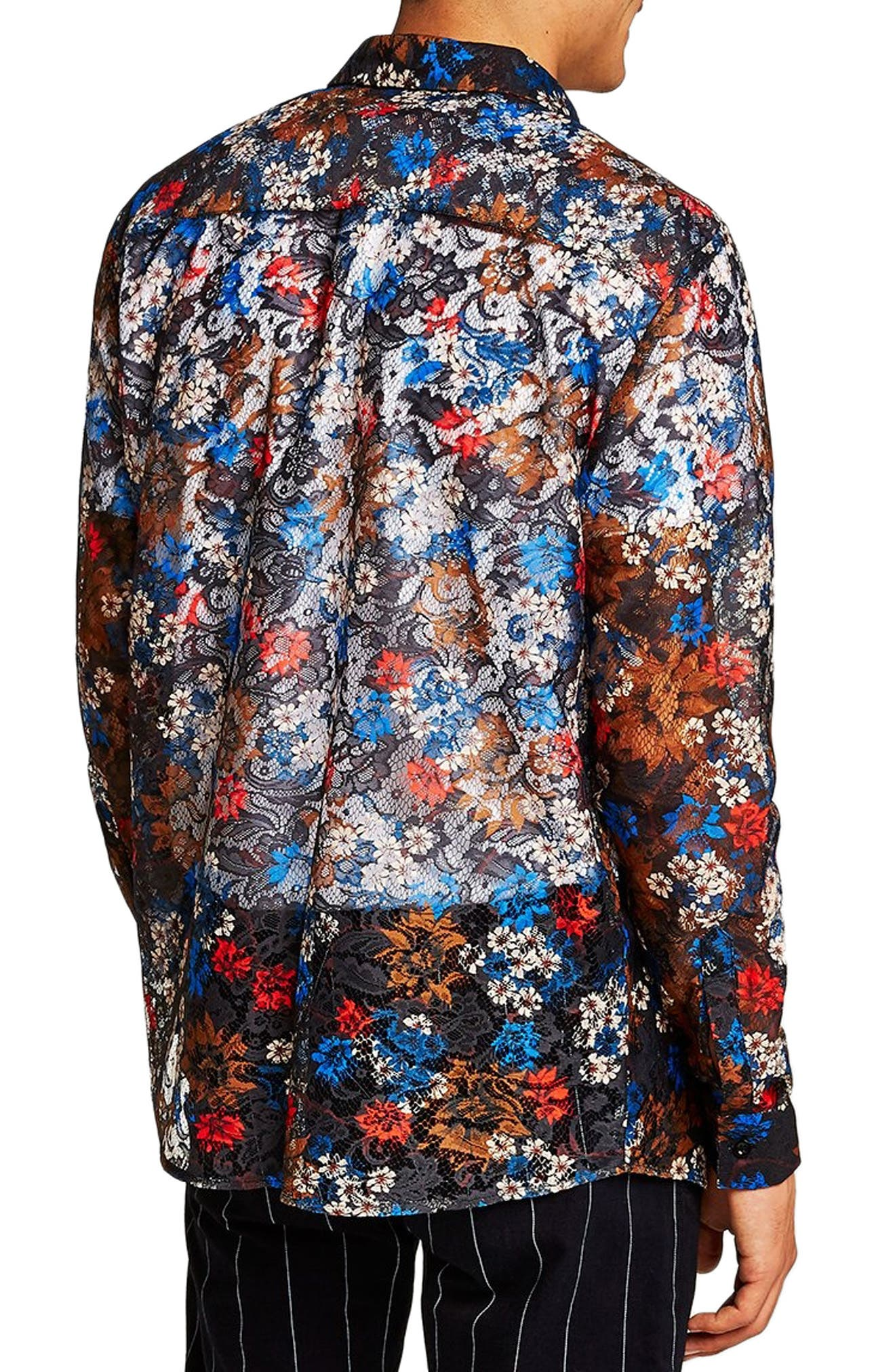 Floral Lace Shirt,                             Alternate thumbnail 3, color,                             BLUE MULTI