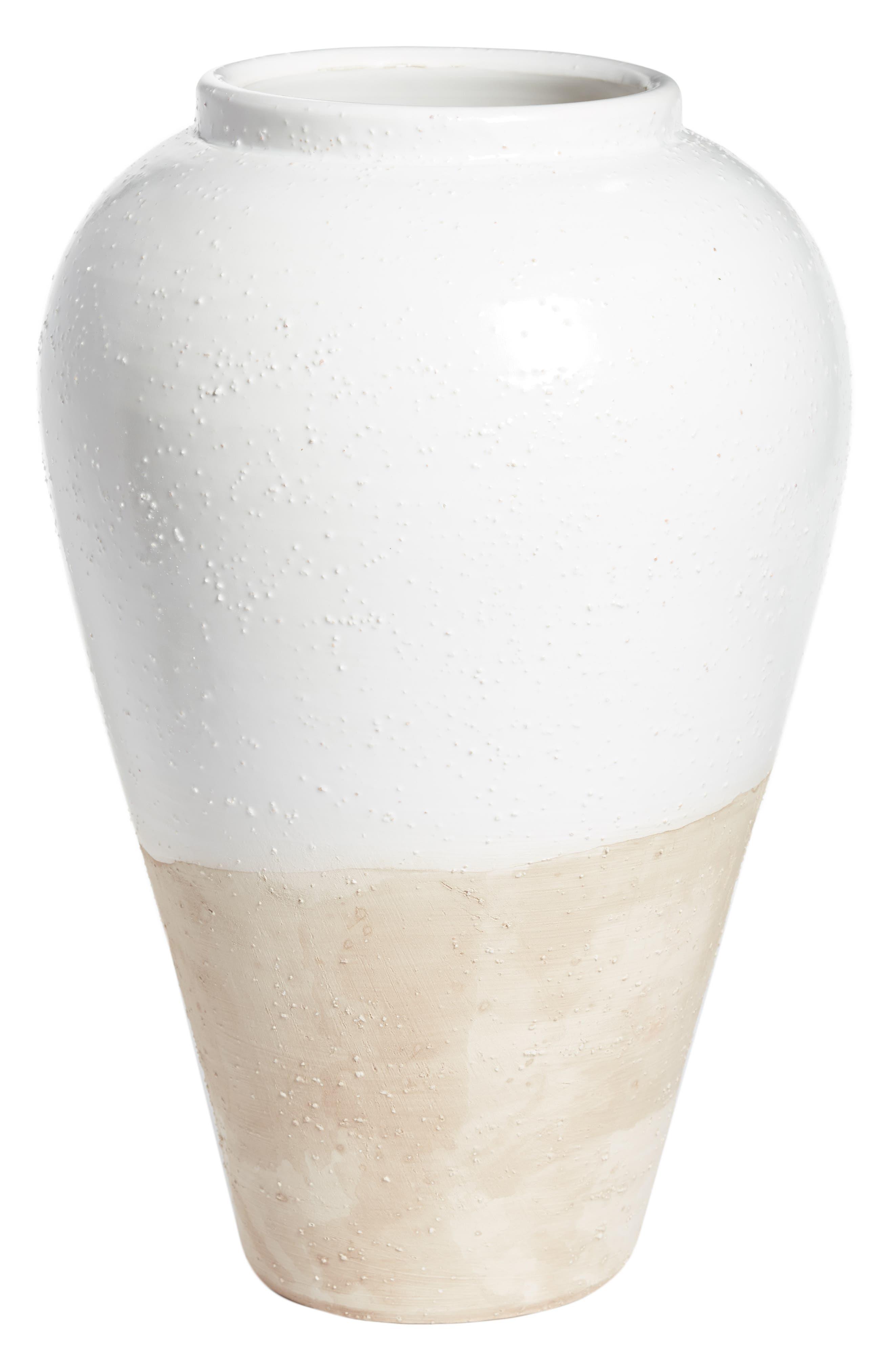 Tuscan Texture Medium Vase,                             Main thumbnail 1, color,                             WHITE