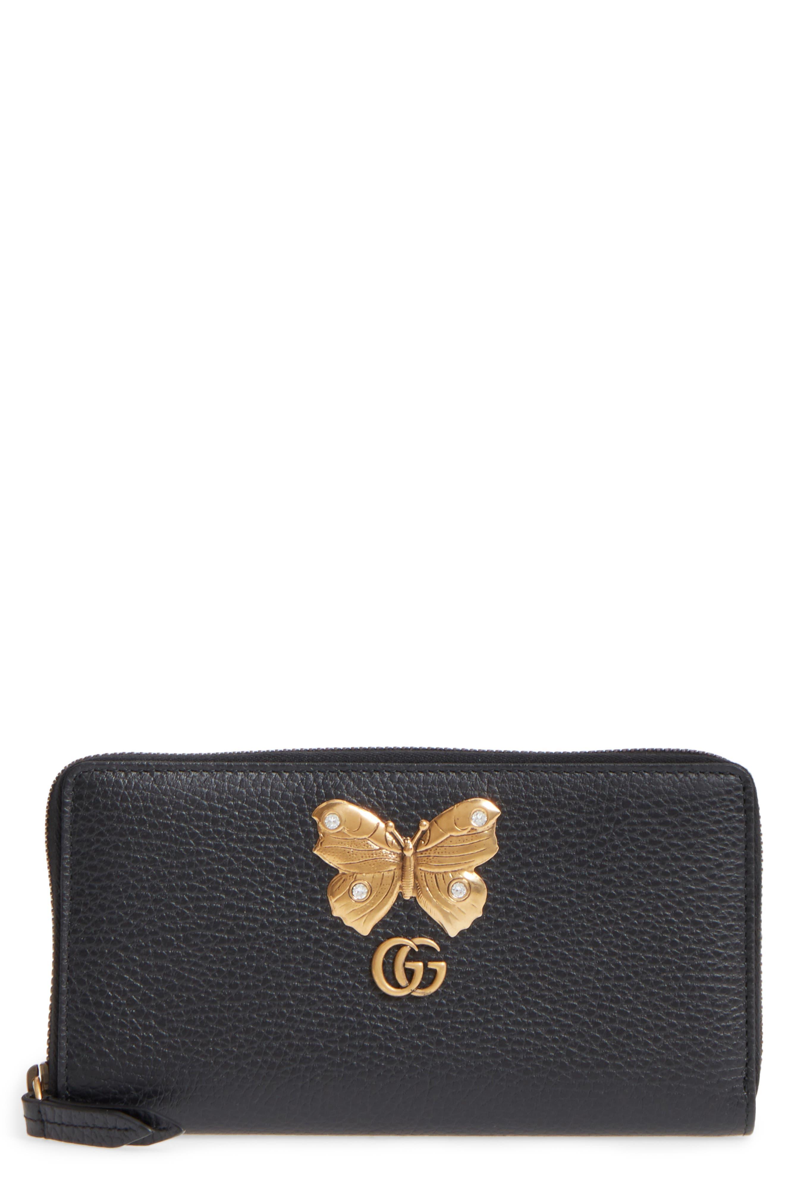 Farfalla Zip Around Leather Wallet,                         Main,                         color, NERO/ CRYSTAL