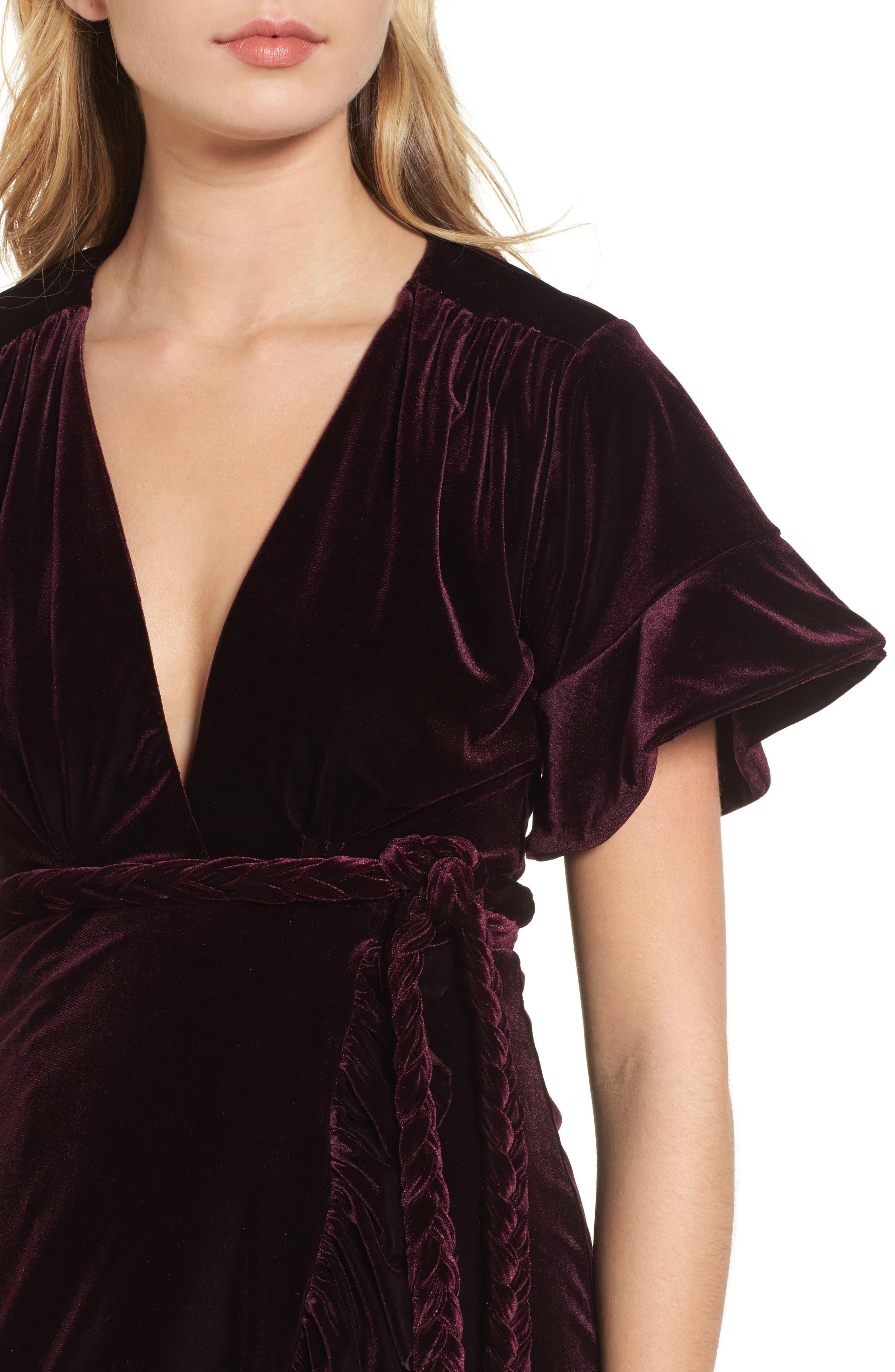 Desma Velvet Wrap Dress,                             Alternate thumbnail 4, color,                             505