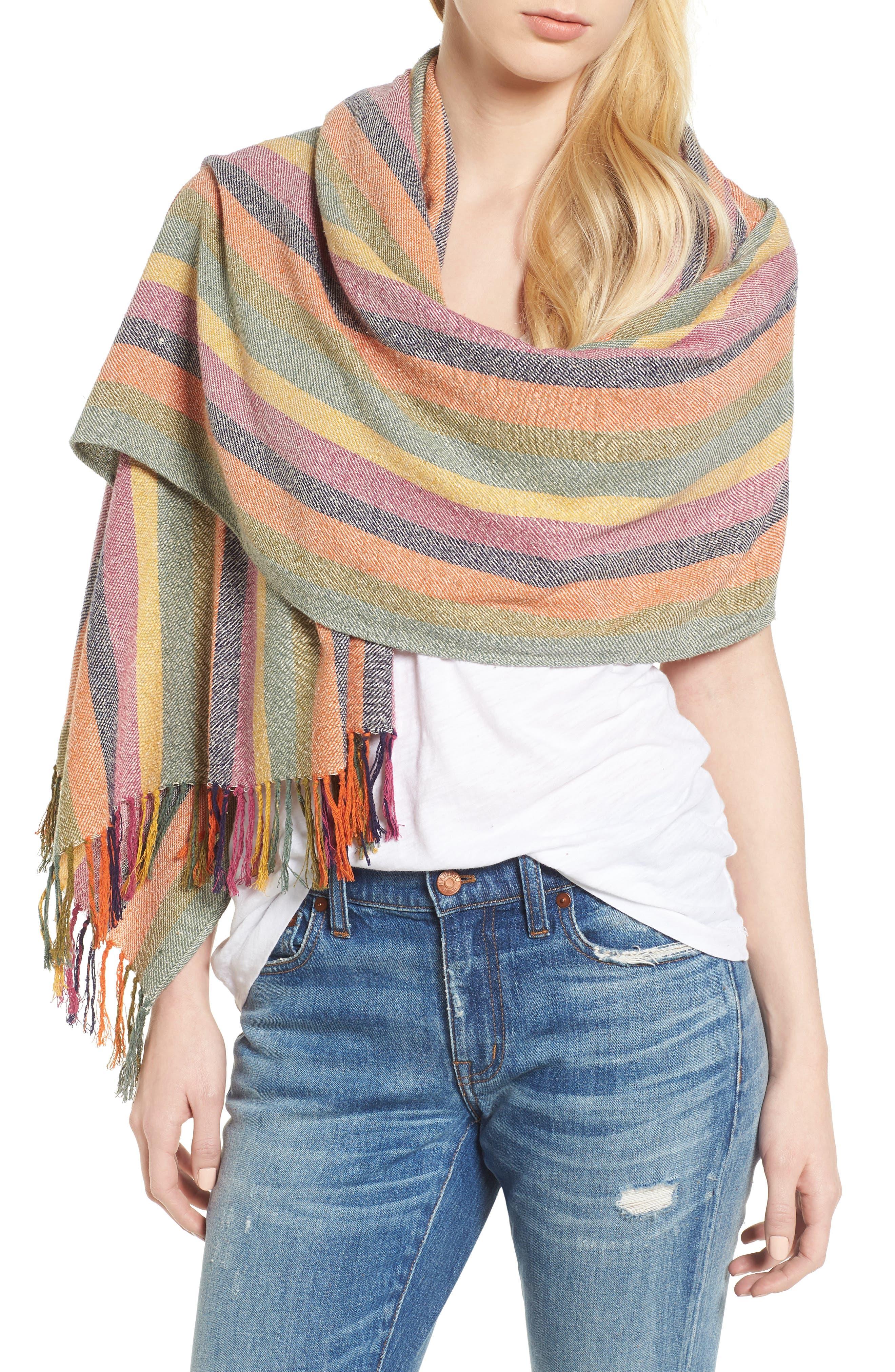 Rainbow Stripe Silk & Cotton Cape Scarf,                             Alternate thumbnail 4, color,                             650