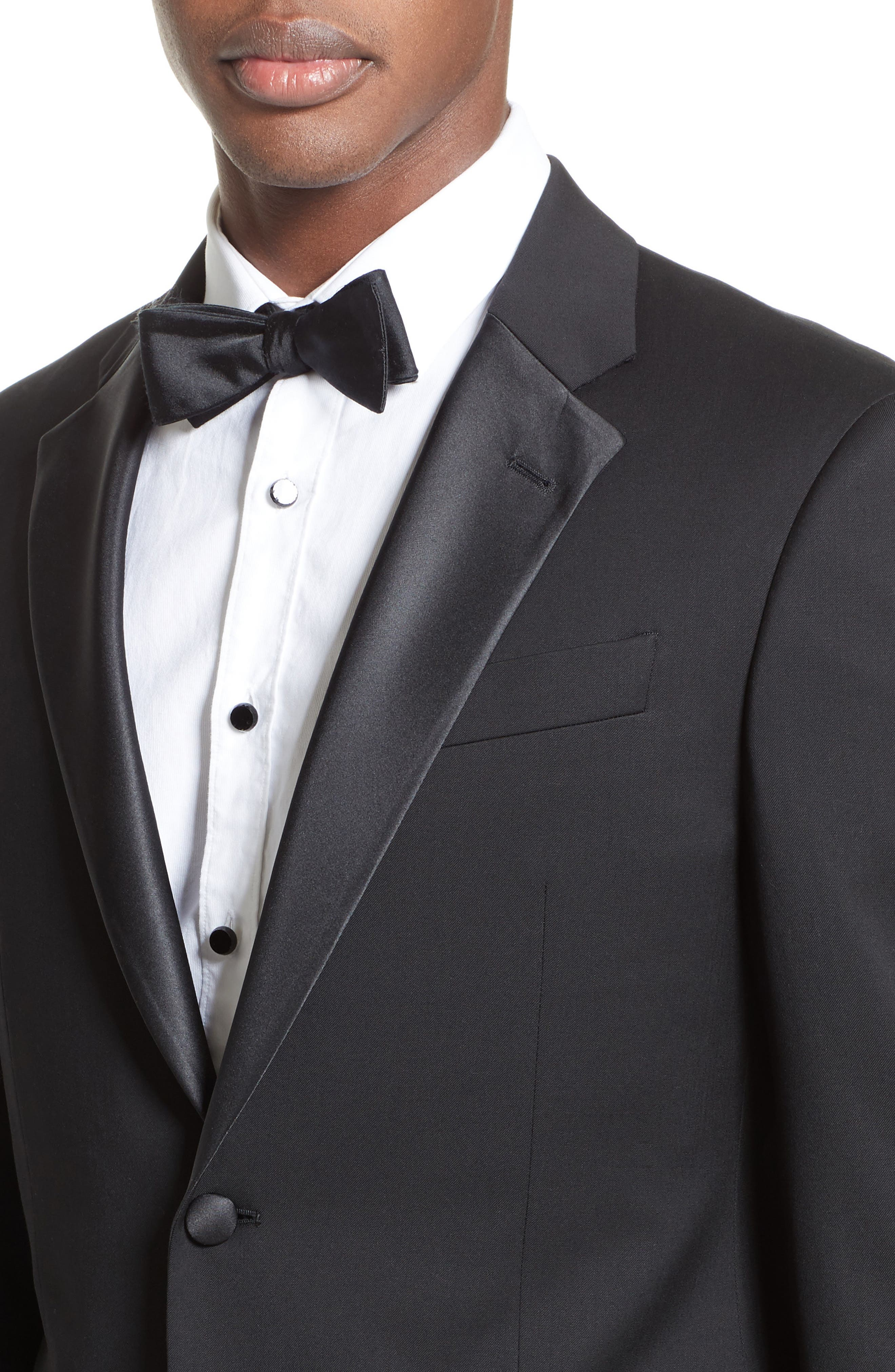 Trim Fit Wool Tuxedo,                             Alternate thumbnail 5, color,                             001