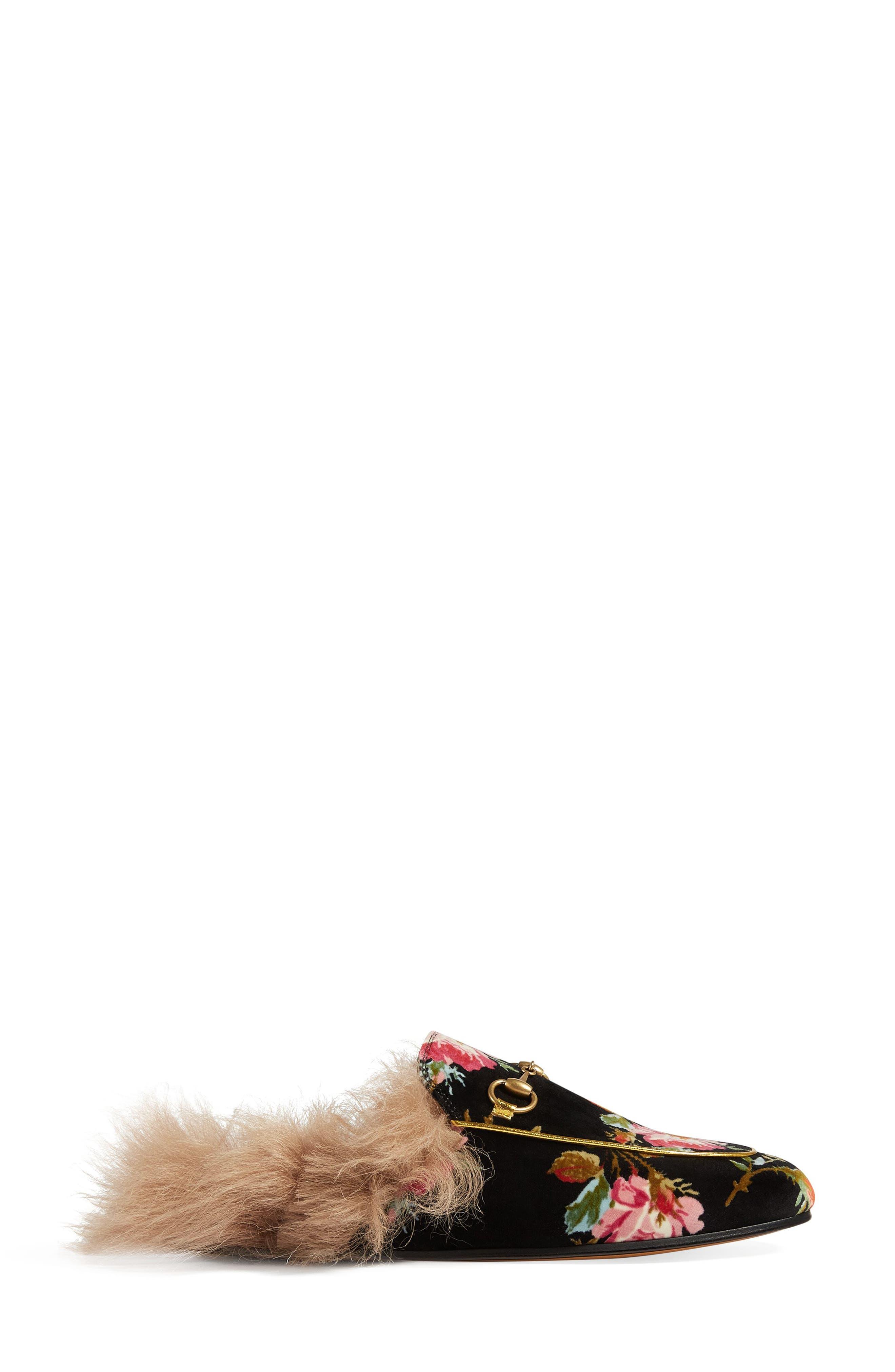 Princetown Floral Genuine Shearling Trim Mule,                             Alternate thumbnail 2, color,                             BLACK/ FLORAL PRINT