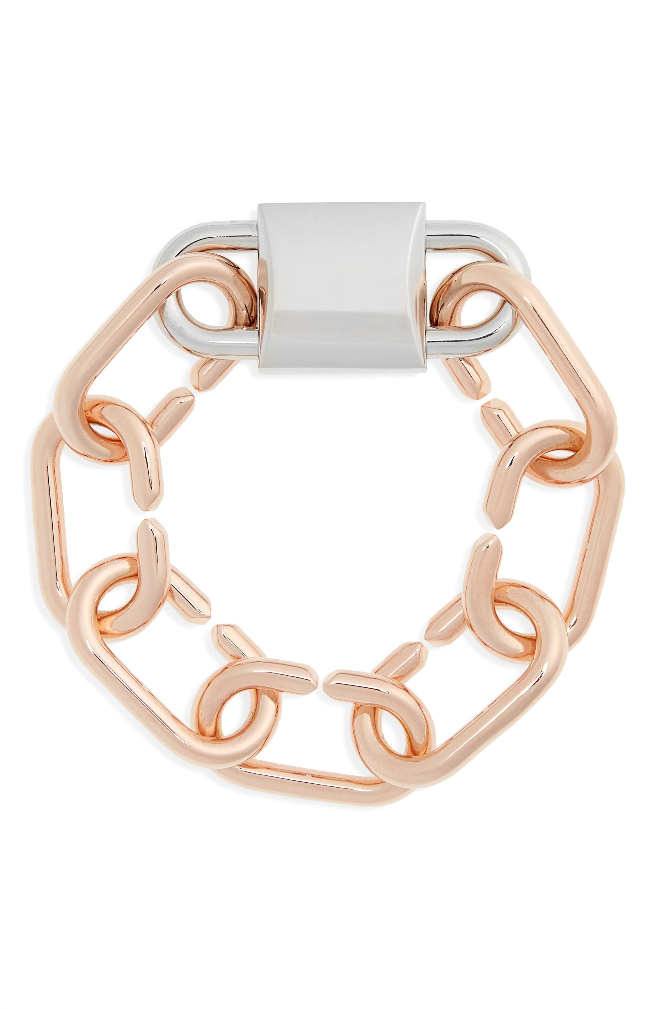 Double Lock Link Bracelet,                         Main,                         color, 650